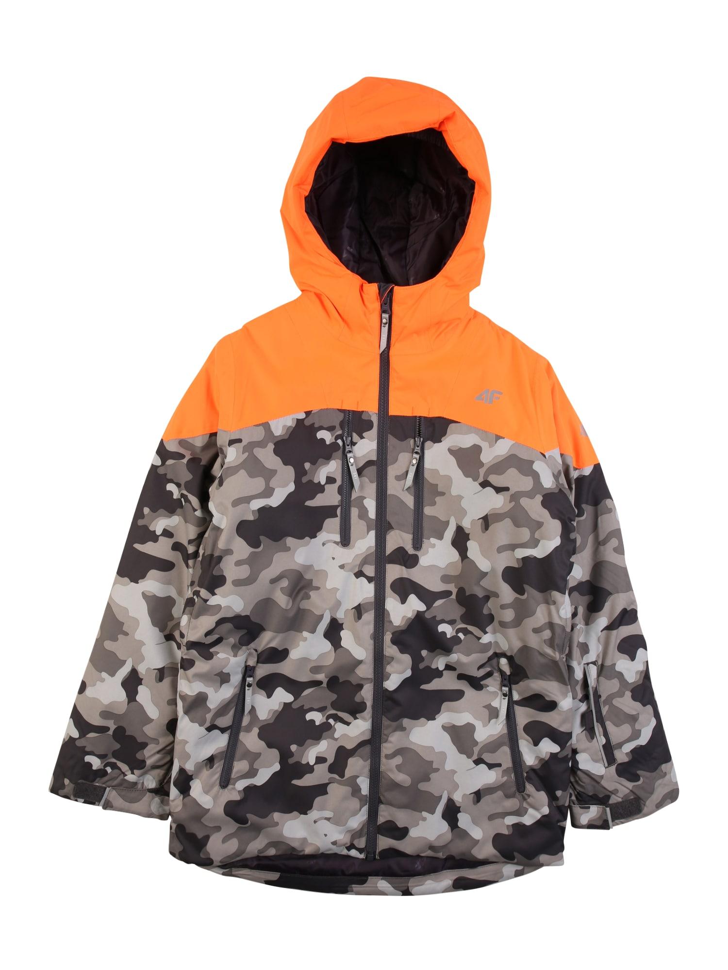 4F Laisvalaikio striukė oranžinė / šviesiai pilka / dūmų pilka / tamsiai pilka