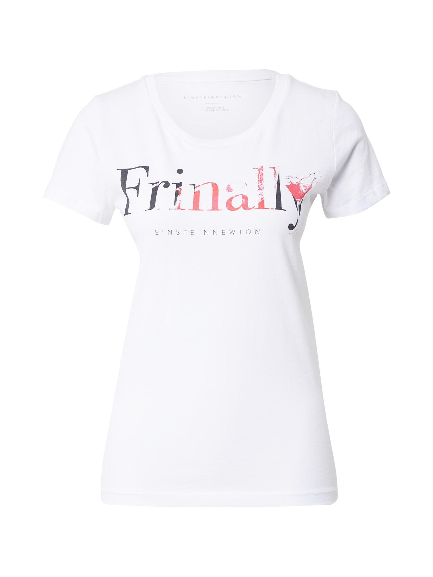 EINSTEIN & NEWTON Marškinėliai balta / juoda / šviesiai raudona