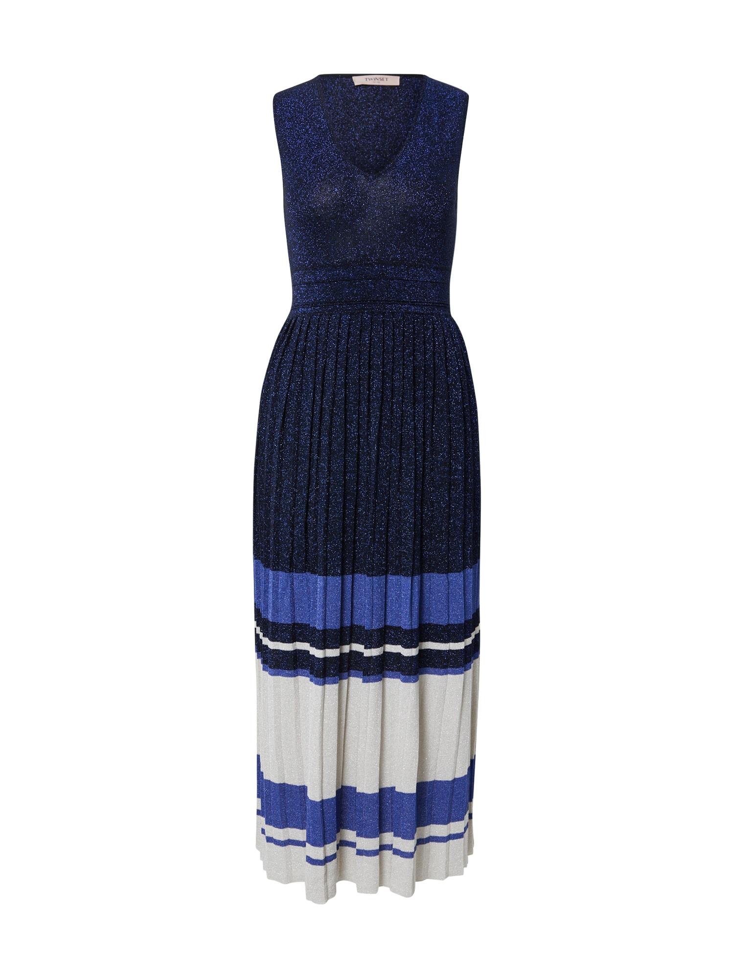 """Twinset Megzta suknelė tamsiai mėlyna / sodri mėlyna (""""karališka"""") / balta"""