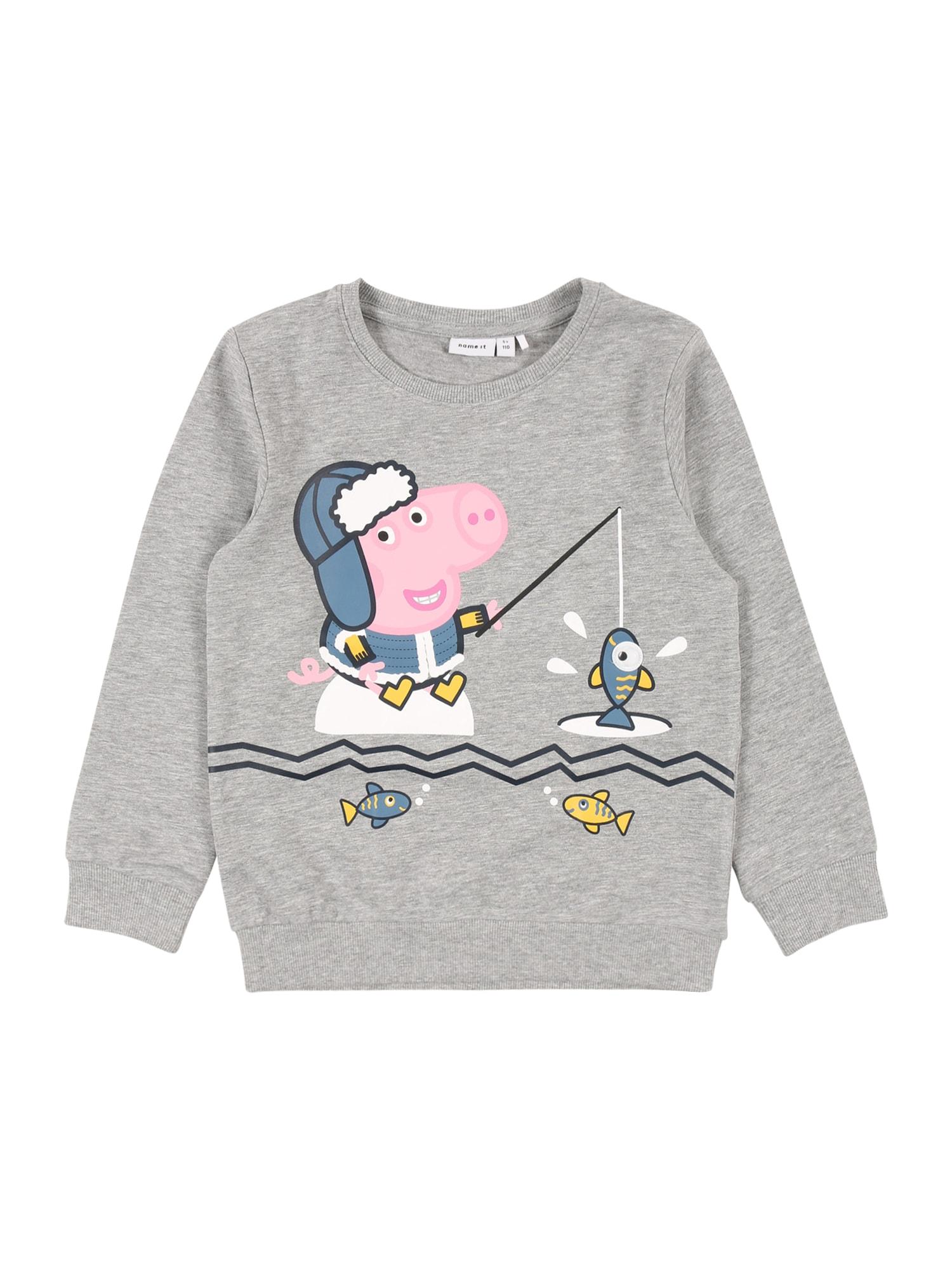 NAME IT Megztinis be užsegimo 'PEPPAPIG' margai pilka / mišrios spalvos / rožinė