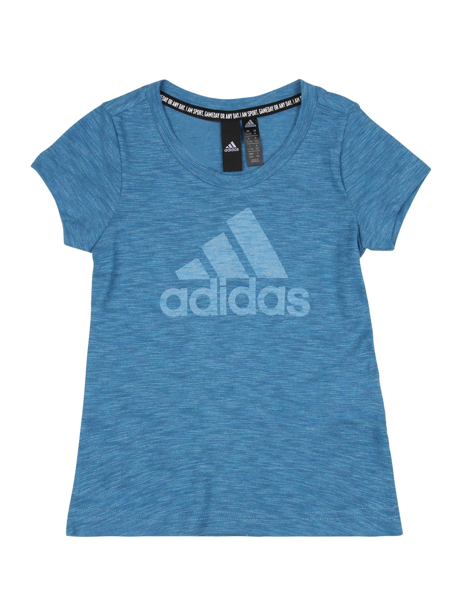 ADIDAS PERFORMANCE Sportiniai marškinėliai margai mėlyna / margai balta