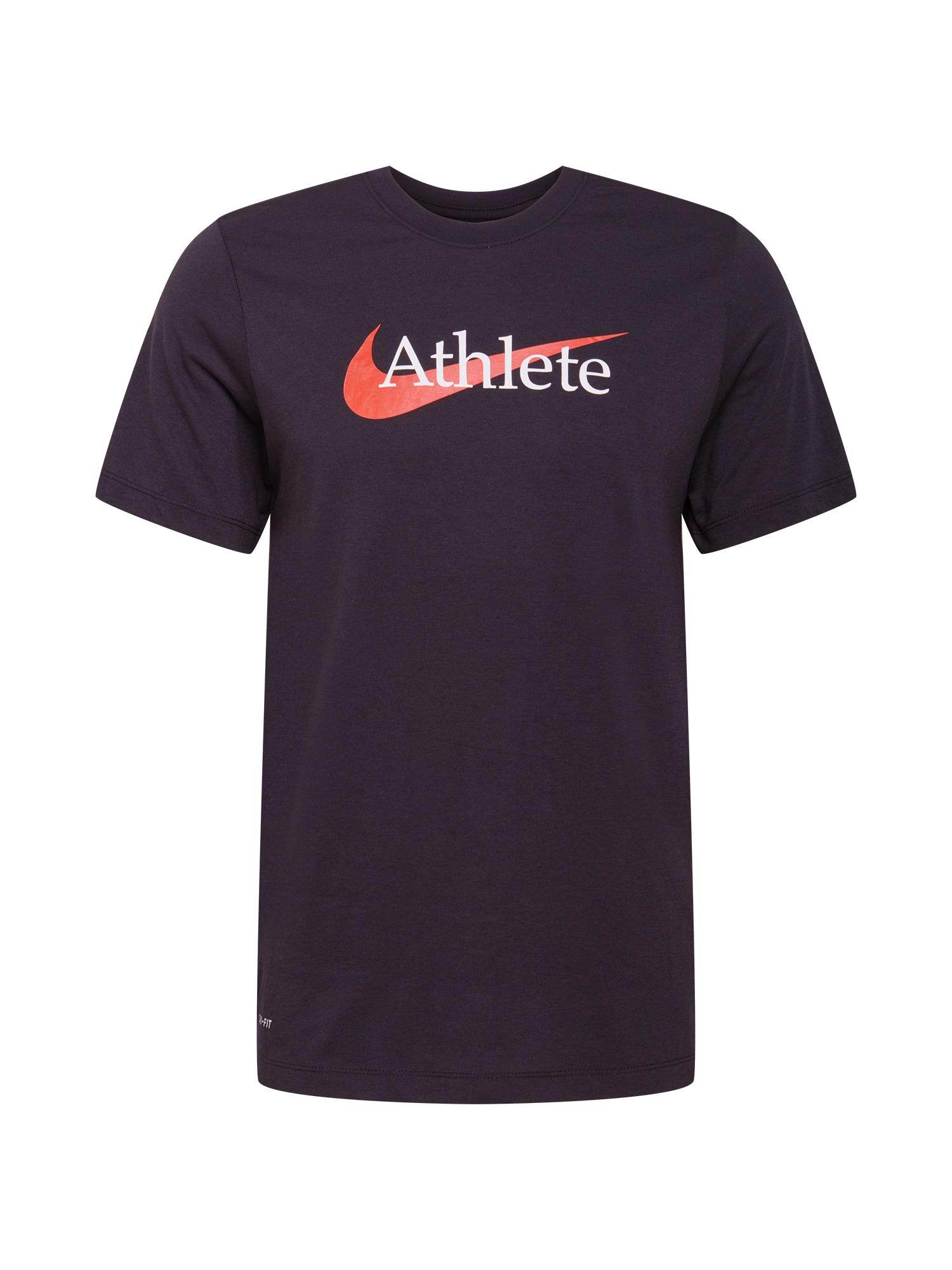 NIKE Sportiniai marškinėliai juoda / omarų spalva / balta