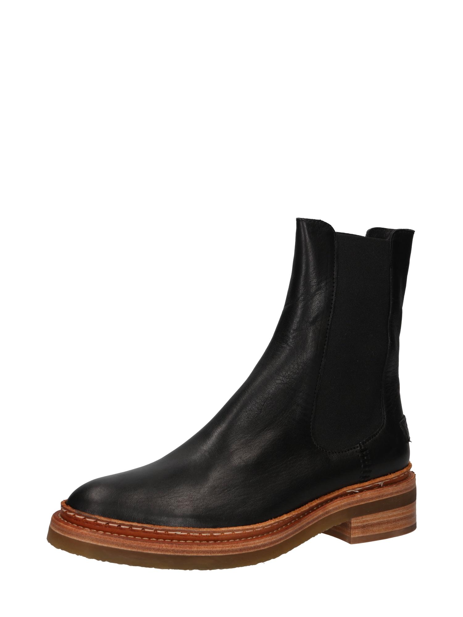 SHABBIES AMSTERDAM Chelsea boty  černá / karamelová