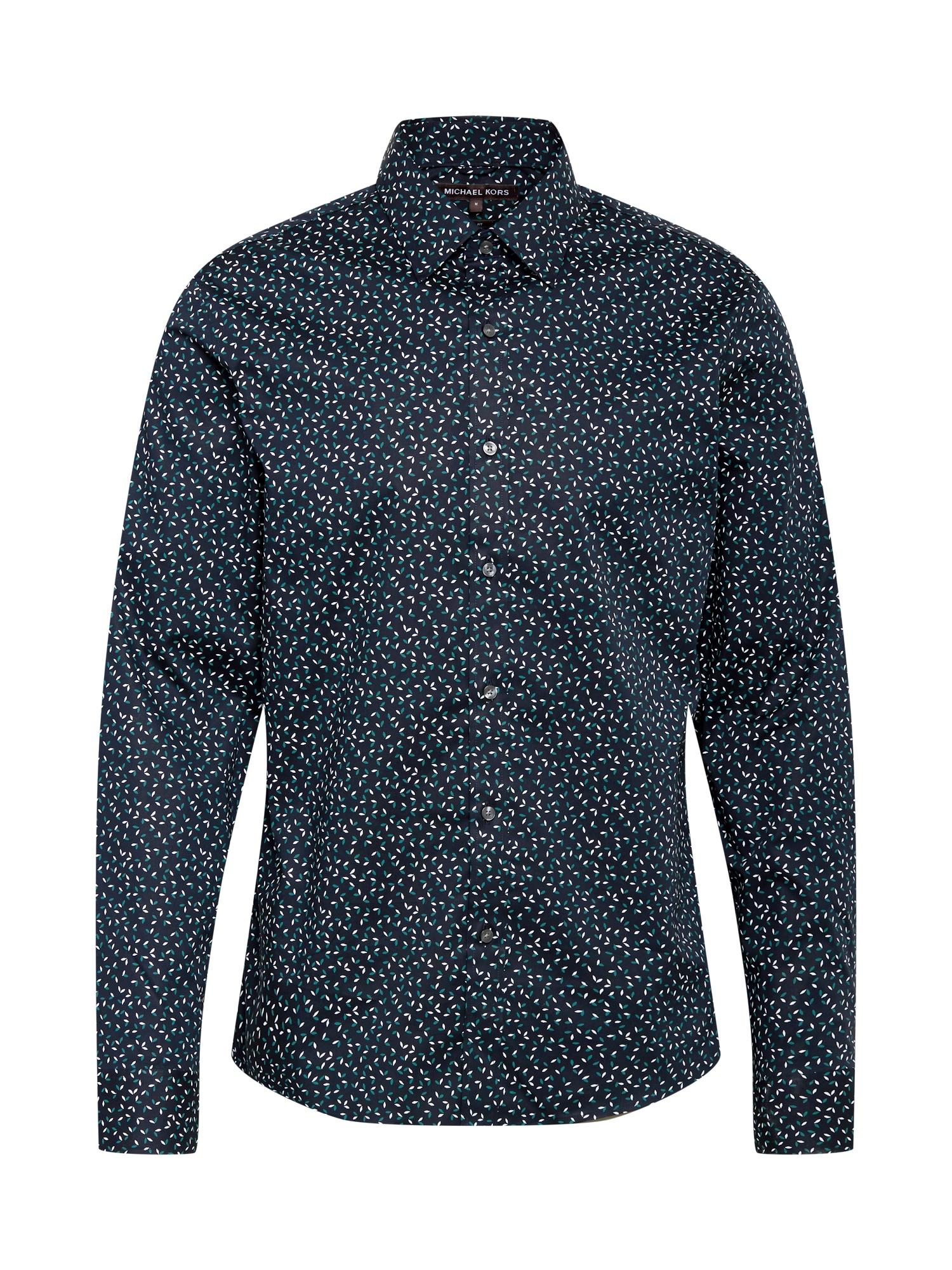 Michael Kors Marškiniai tamsiai mėlyna / smaragdinė spalva / balta