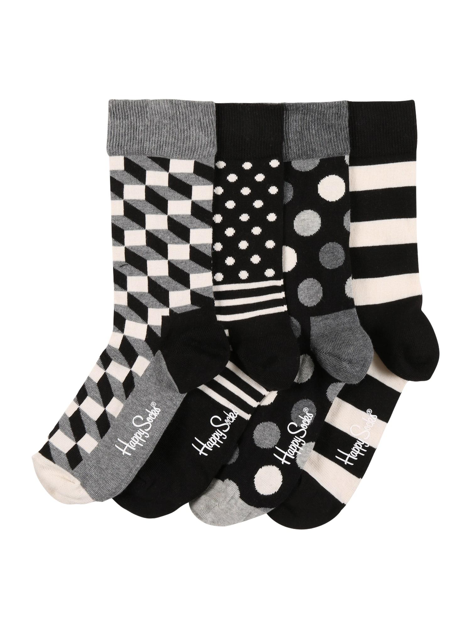 Happy Socks Kojinės juoda / balta / pilka