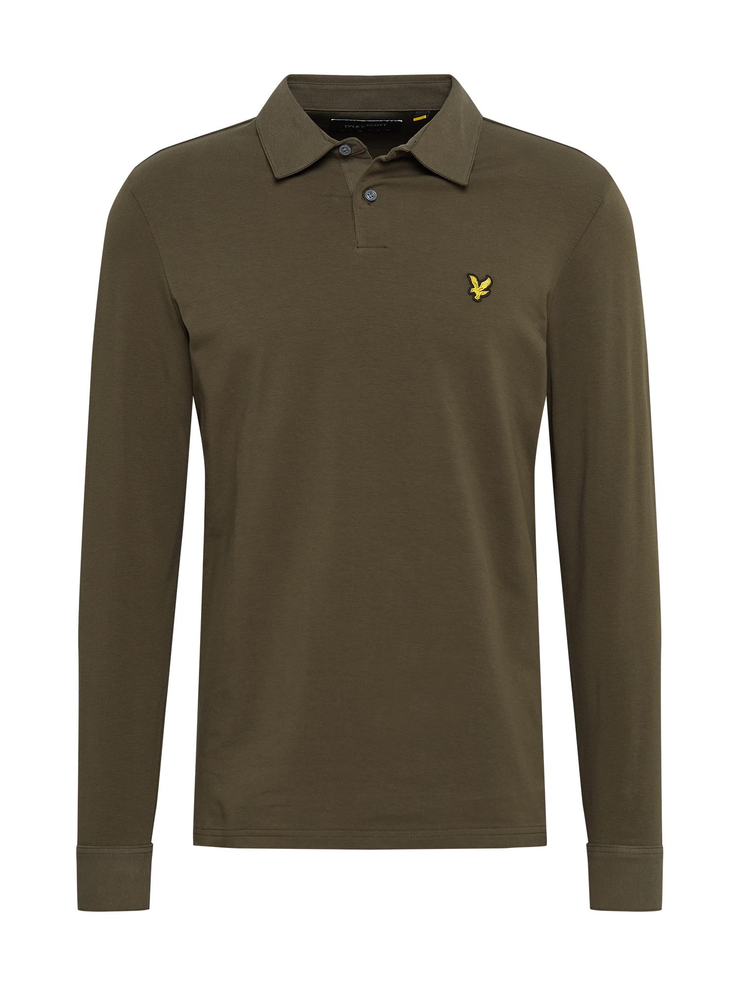 Lyle & Scott Marškinėliai rusvai žalia / geltona / juoda