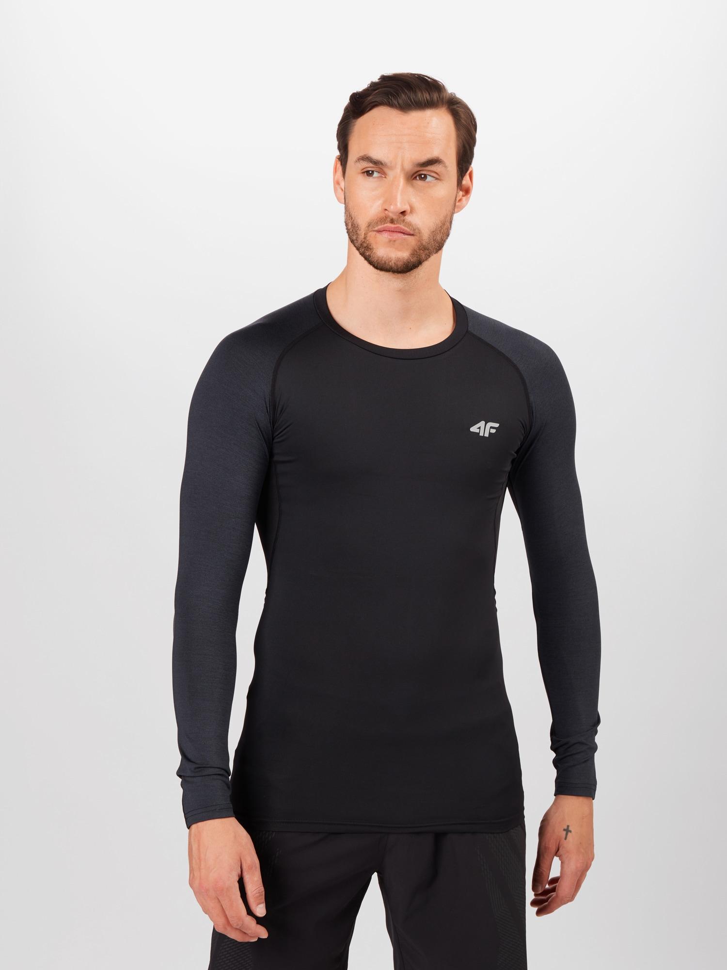 4F Funkční tričko  černá / černý melír