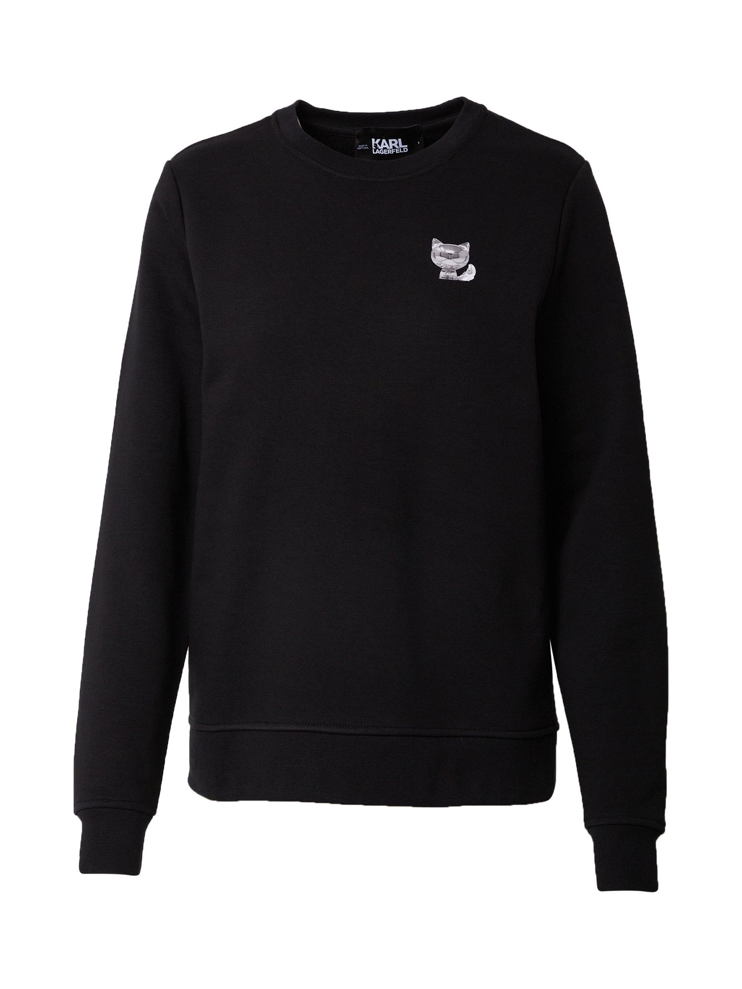 Karl Lagerfeld Megztinis be užsegimo juoda / balta