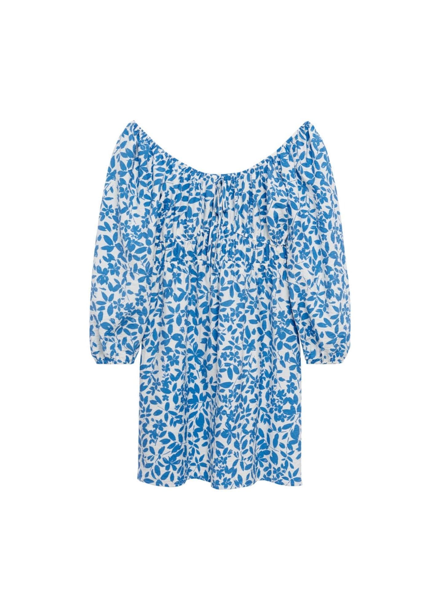 MANGO Šaty 'mery'  pastelová modrá / bílá