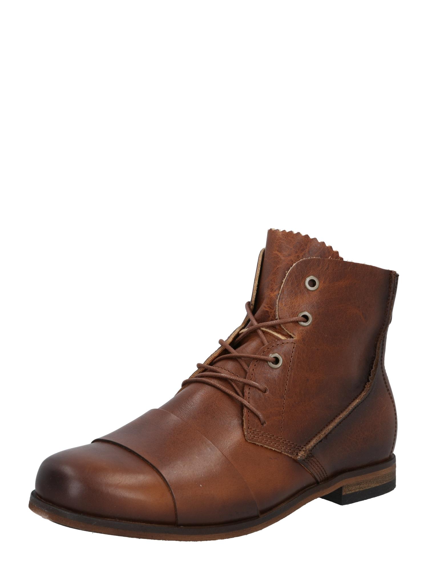 HUB Auliniai batai su raišteliais ruda (konjako)