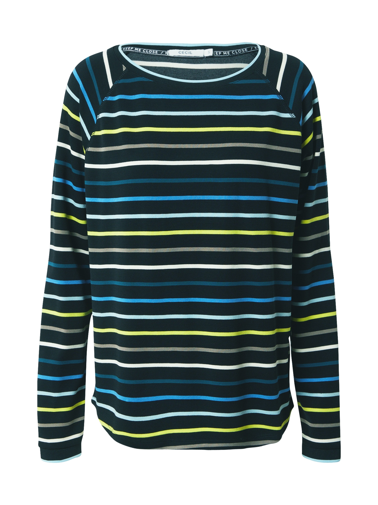 CECIL Marškinėliai juoda / mėlyna / geltona / balta