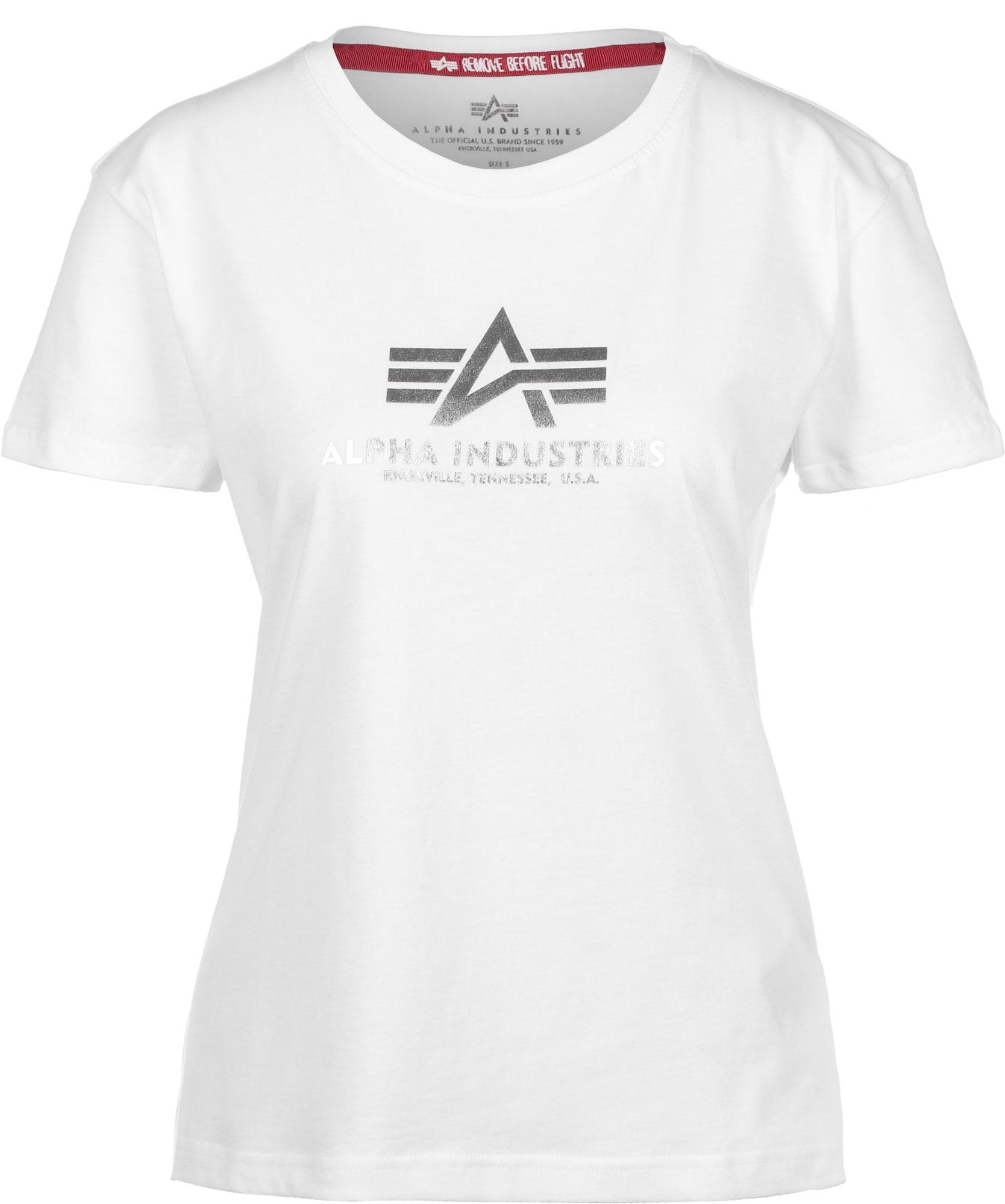 ALPHA INDUSTRIES Marškinėliai balta / sidabrinė