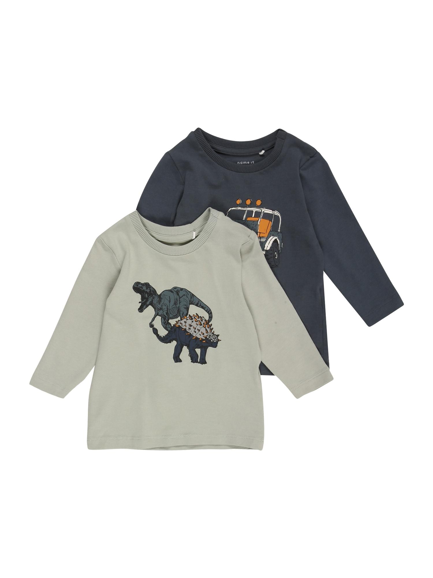 NAME IT Marškinėliai rusvai žalia / tamsiai mėlyna / balta / medaus spalva