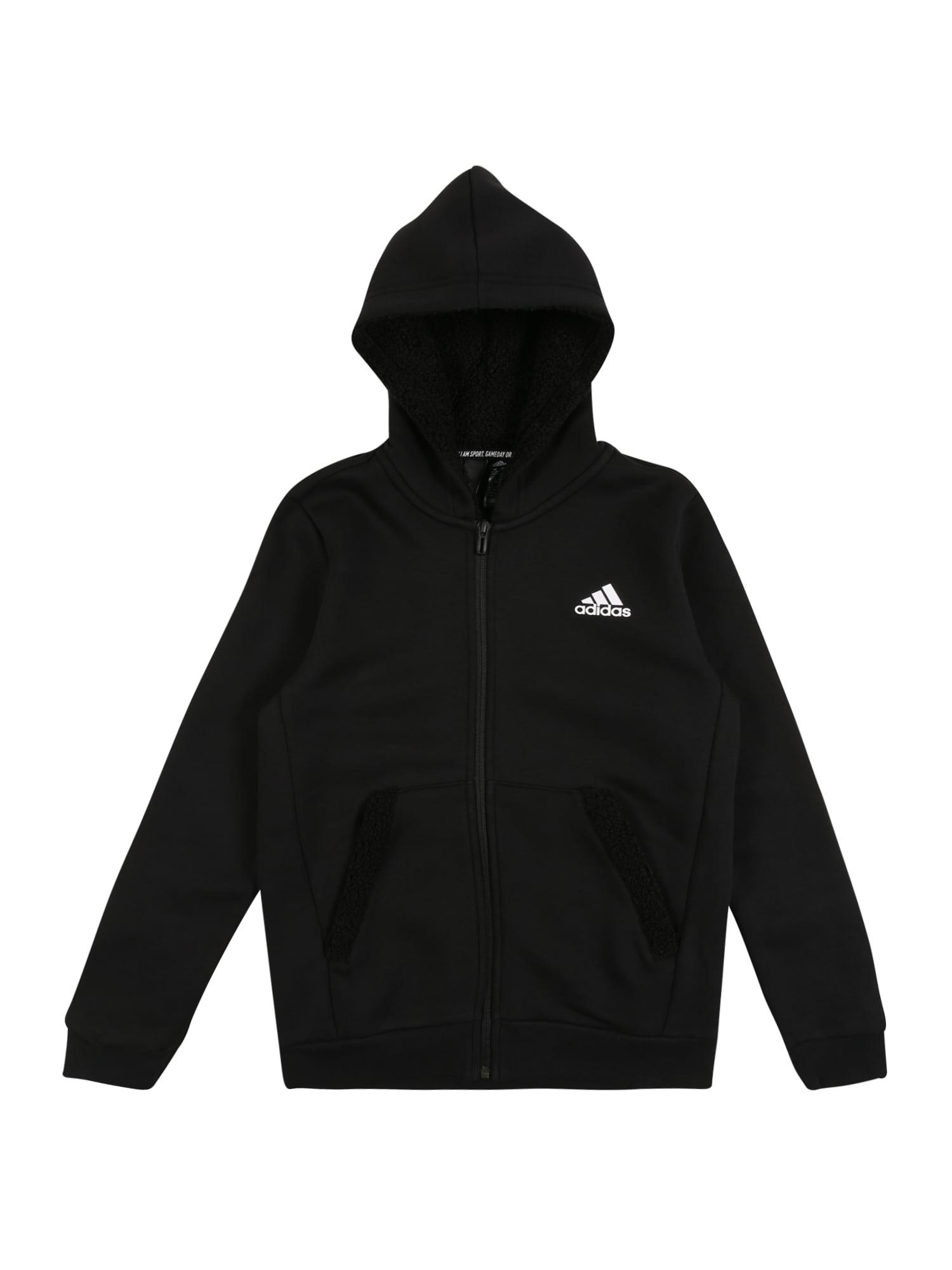 ADIDAS PERFORMANCE Sportinio tipo megztinis balta / juoda