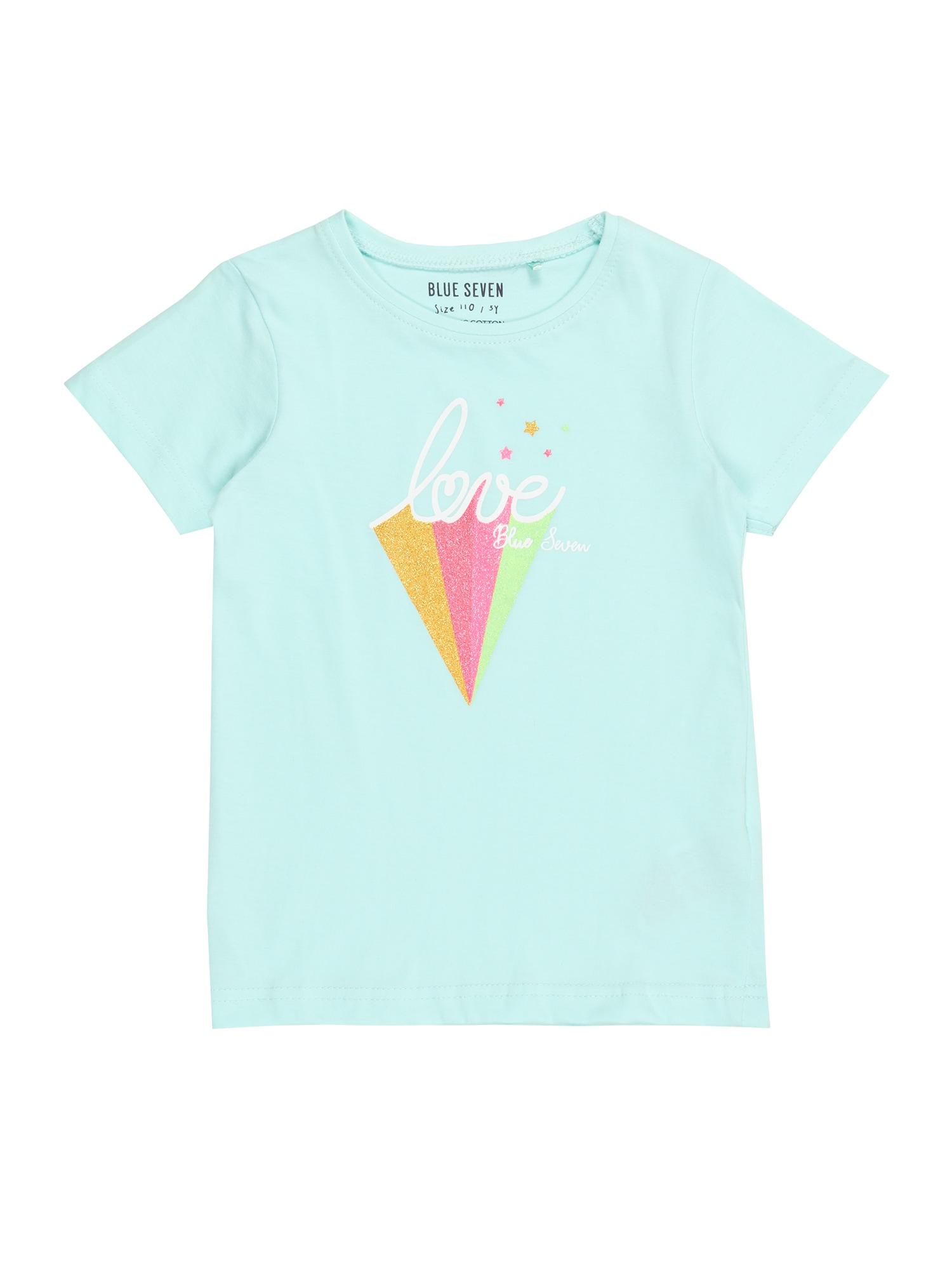 BLUE SEVEN Marškinėliai turkio spalva / oranžinė / rožinė / balta / šviesiai žalia