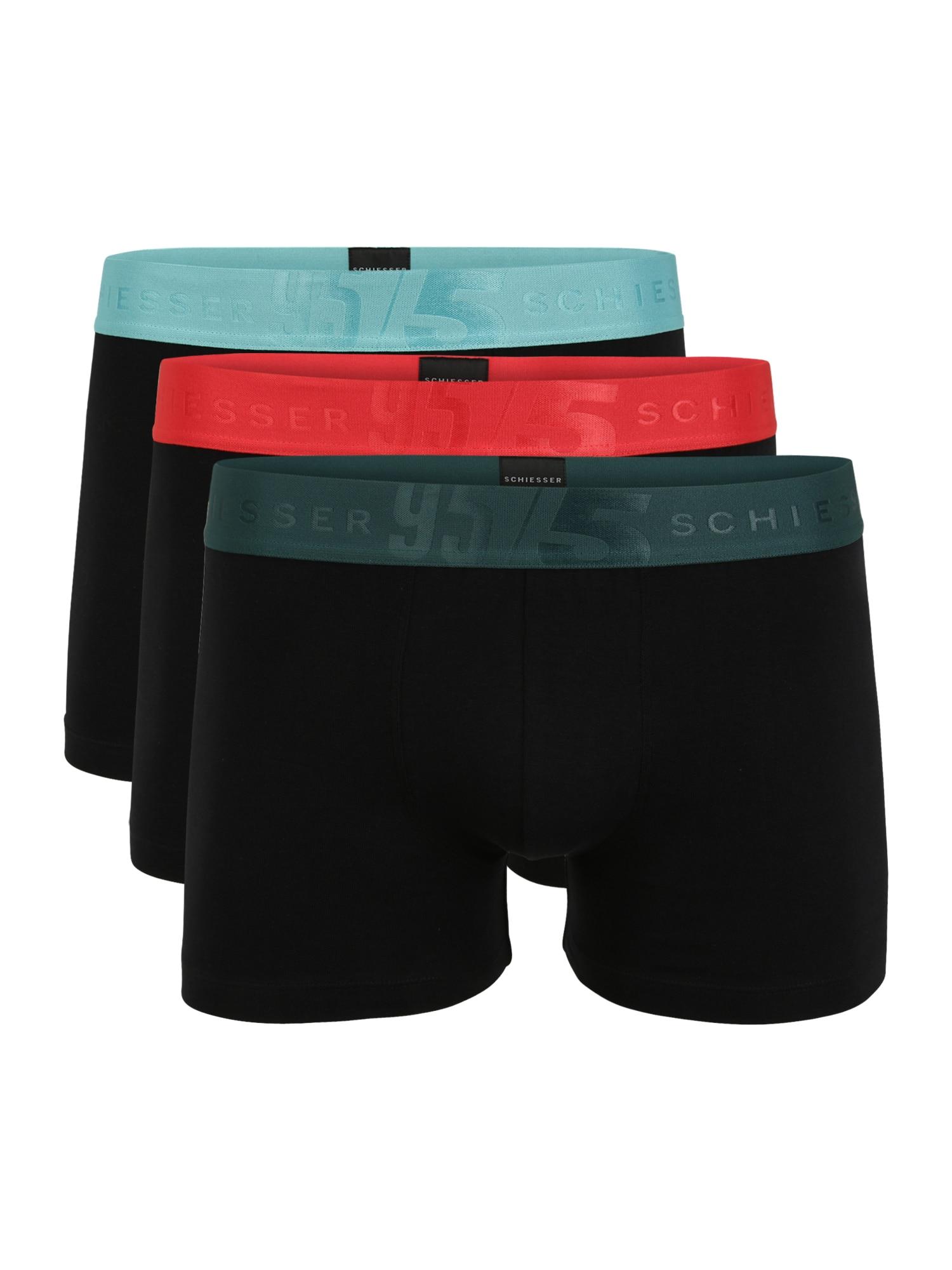SCHIESSER Boxerky  černá / červená / mátová / petrolejová