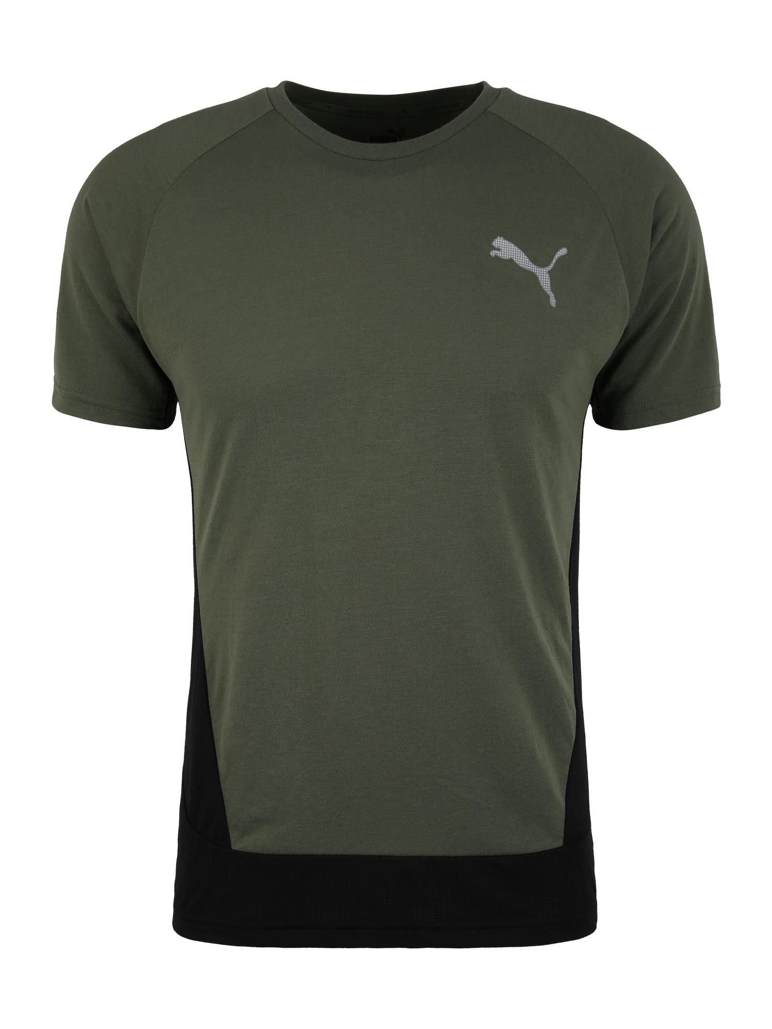 PUMA Funkční tričko 'EVOSTRIPE'  zelená / černá