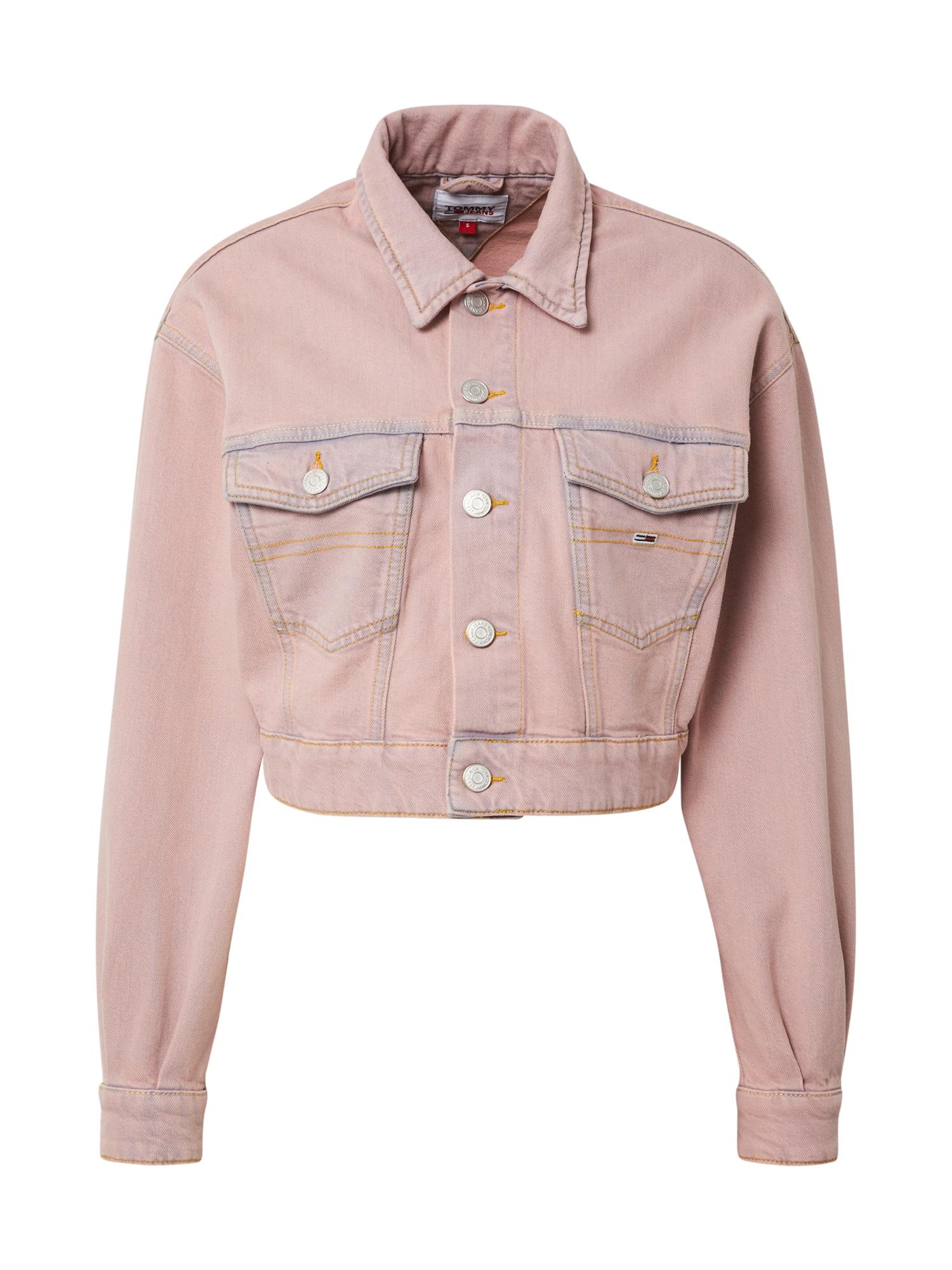 Tommy Jeans Demisezoninė striukė ryškiai rožinė spalva