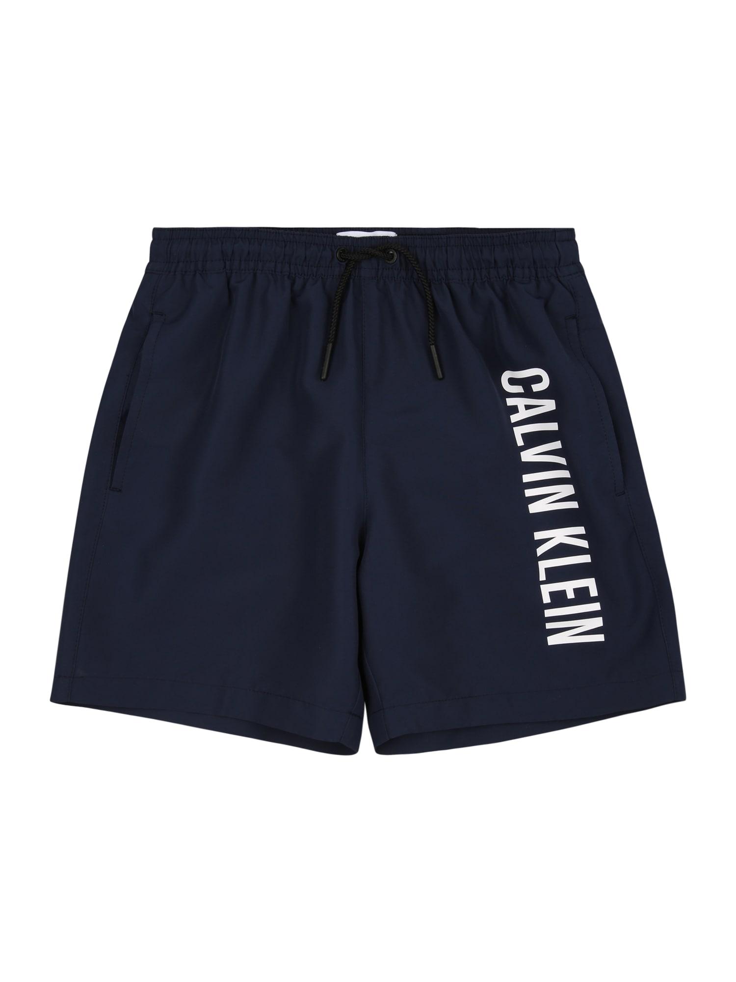 Calvin Klein Swimwear Maudymosi trumpikės nakties mėlyna / balta