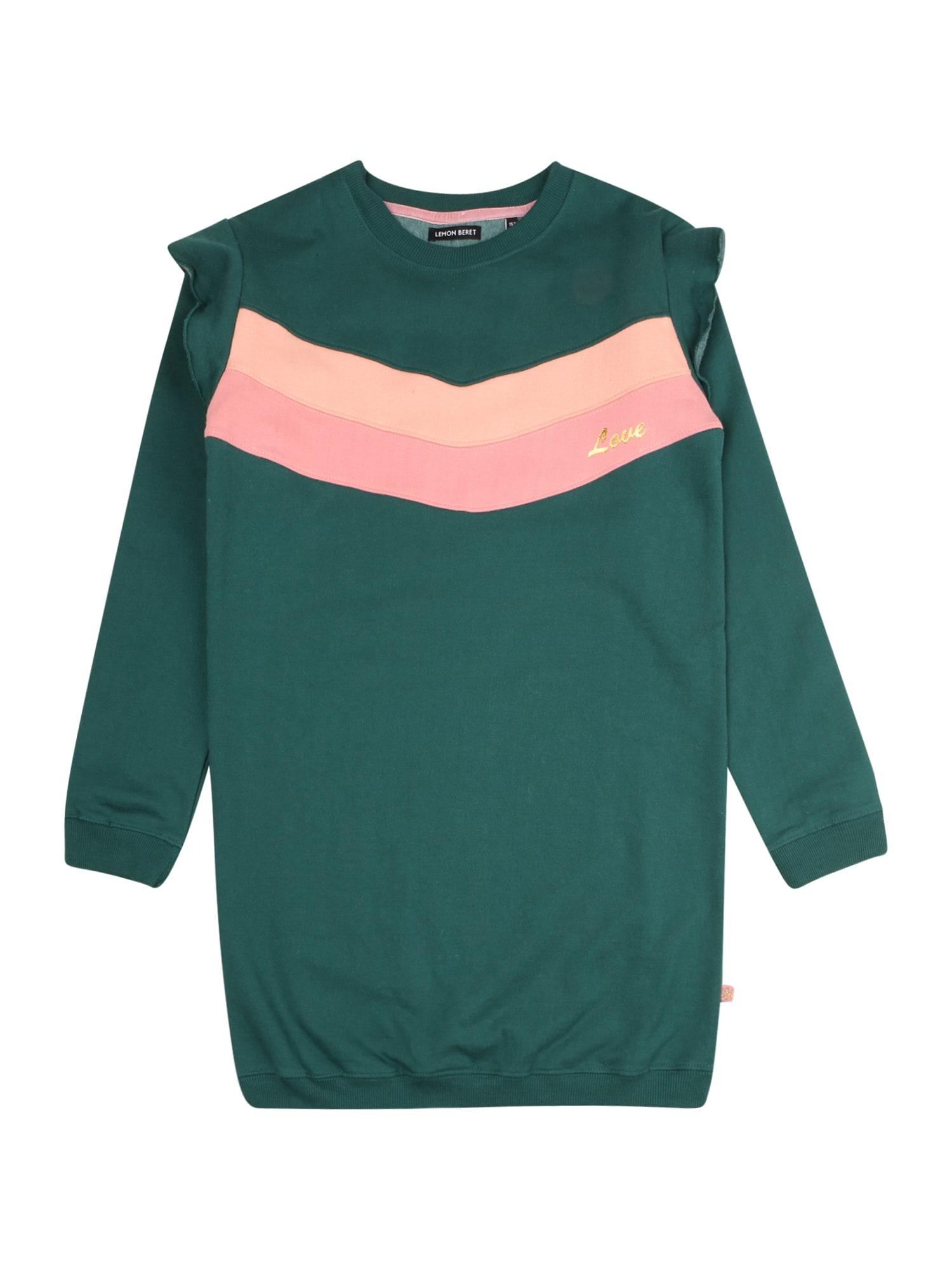 LEMON BERET Suknelė smaragdinė spalva / šviesiai rožinė