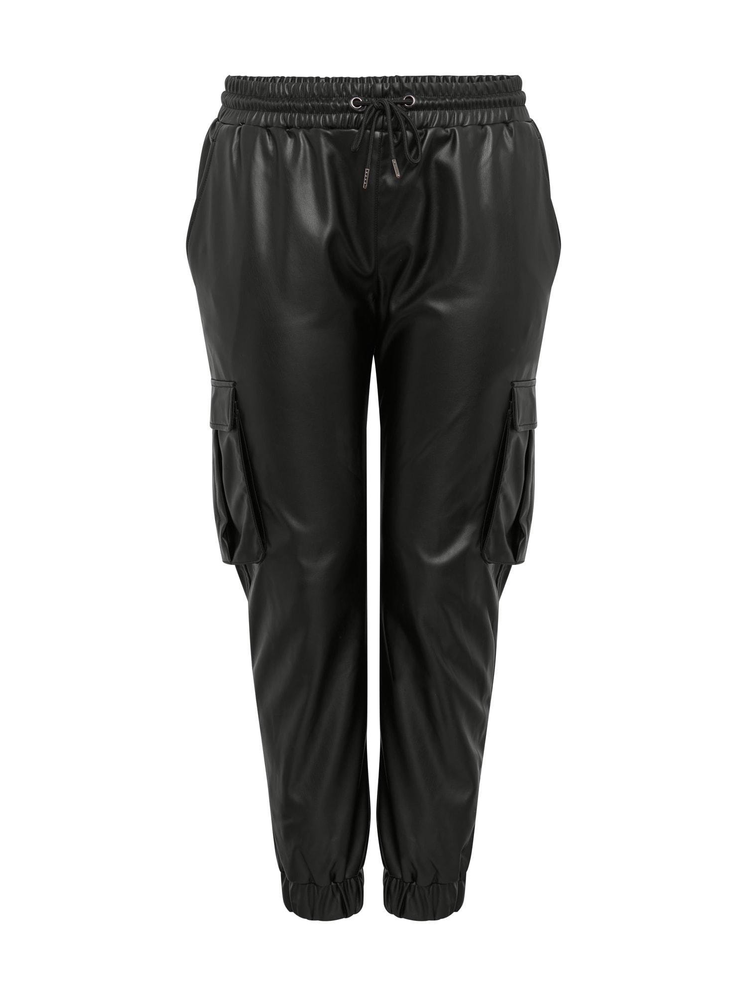 Urban Classics Curvy Laisvo stiliaus kelnės juoda
