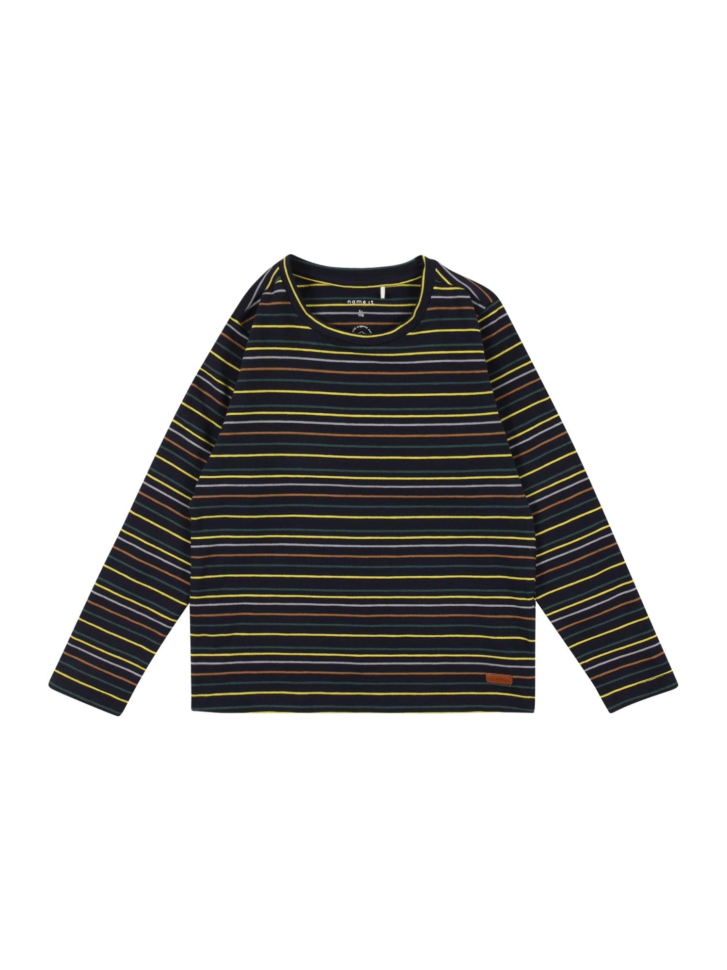 NAME IT Tričko 'SOHR'  tmavě modrá / žlutá / tmavě oranžová / tmavě zelená / pastelová fialová