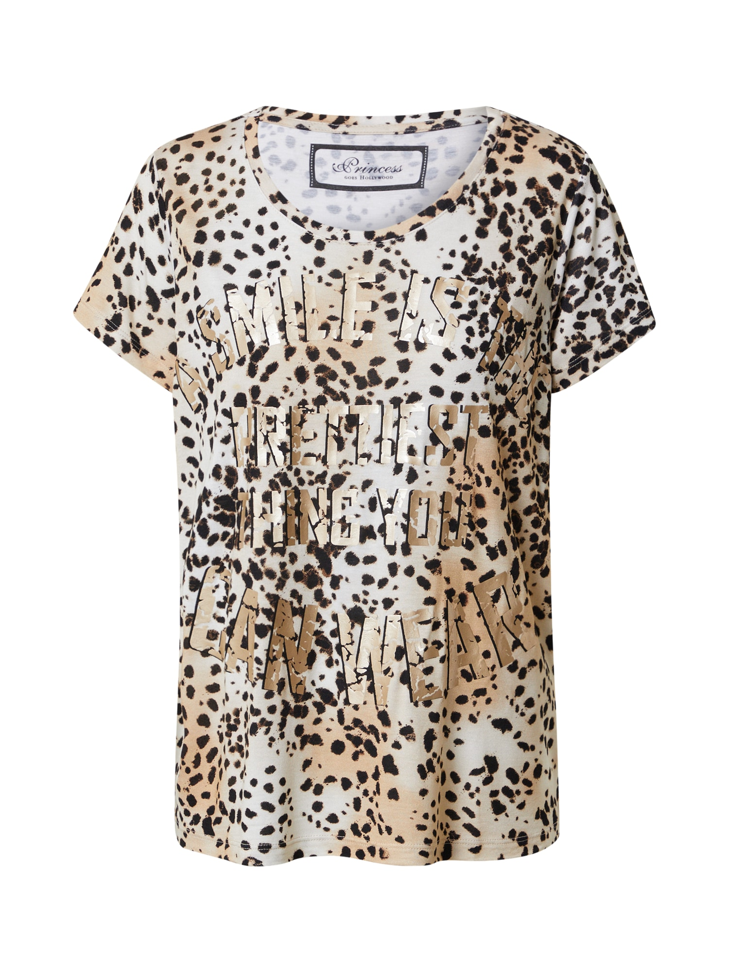 PRINCESS GOES HOLLYWOOD Marškinėliai smėlio spalva / ruda / tamsiai ruda / juoda