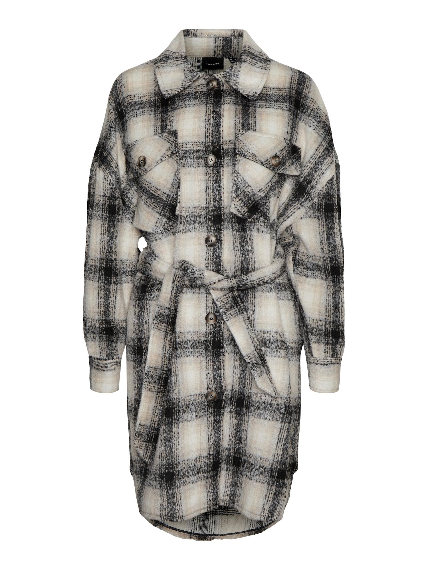 Vero Moda Curve Přechodný kabát 'Luna'  pudrová / černá / béžová