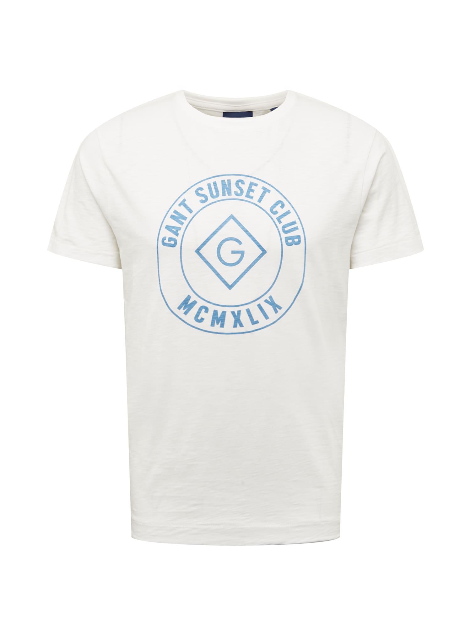 GANT Marškinėliai balta / mėlyna dūmų spalva