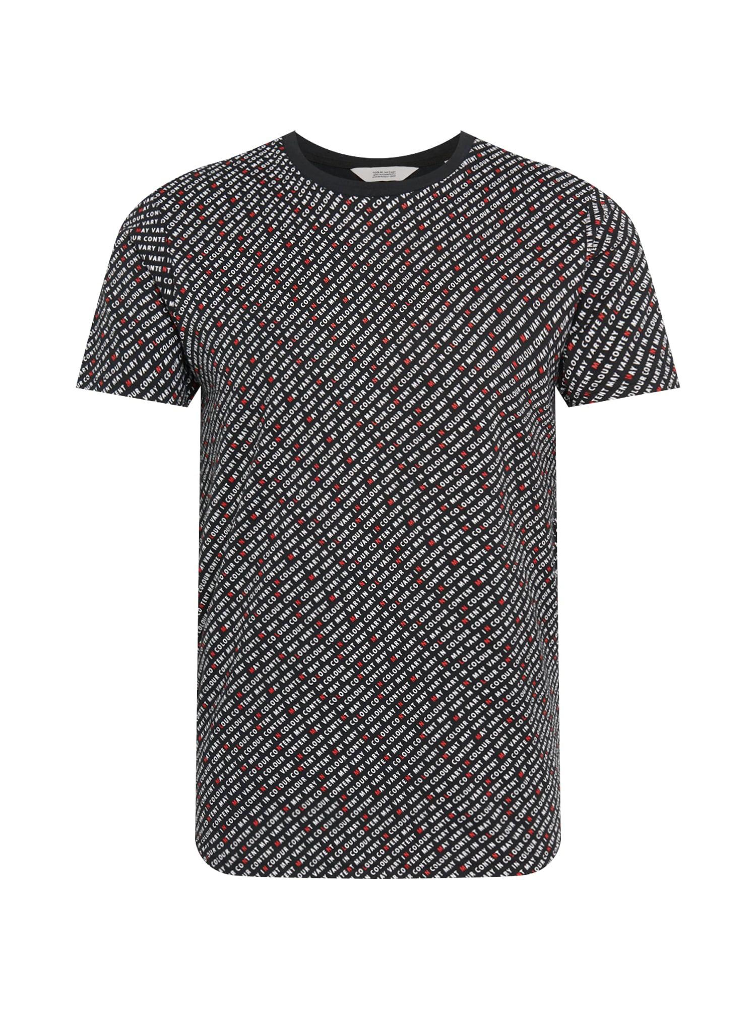 !Solid Tričko 'Matin'  černá / bílá / červená