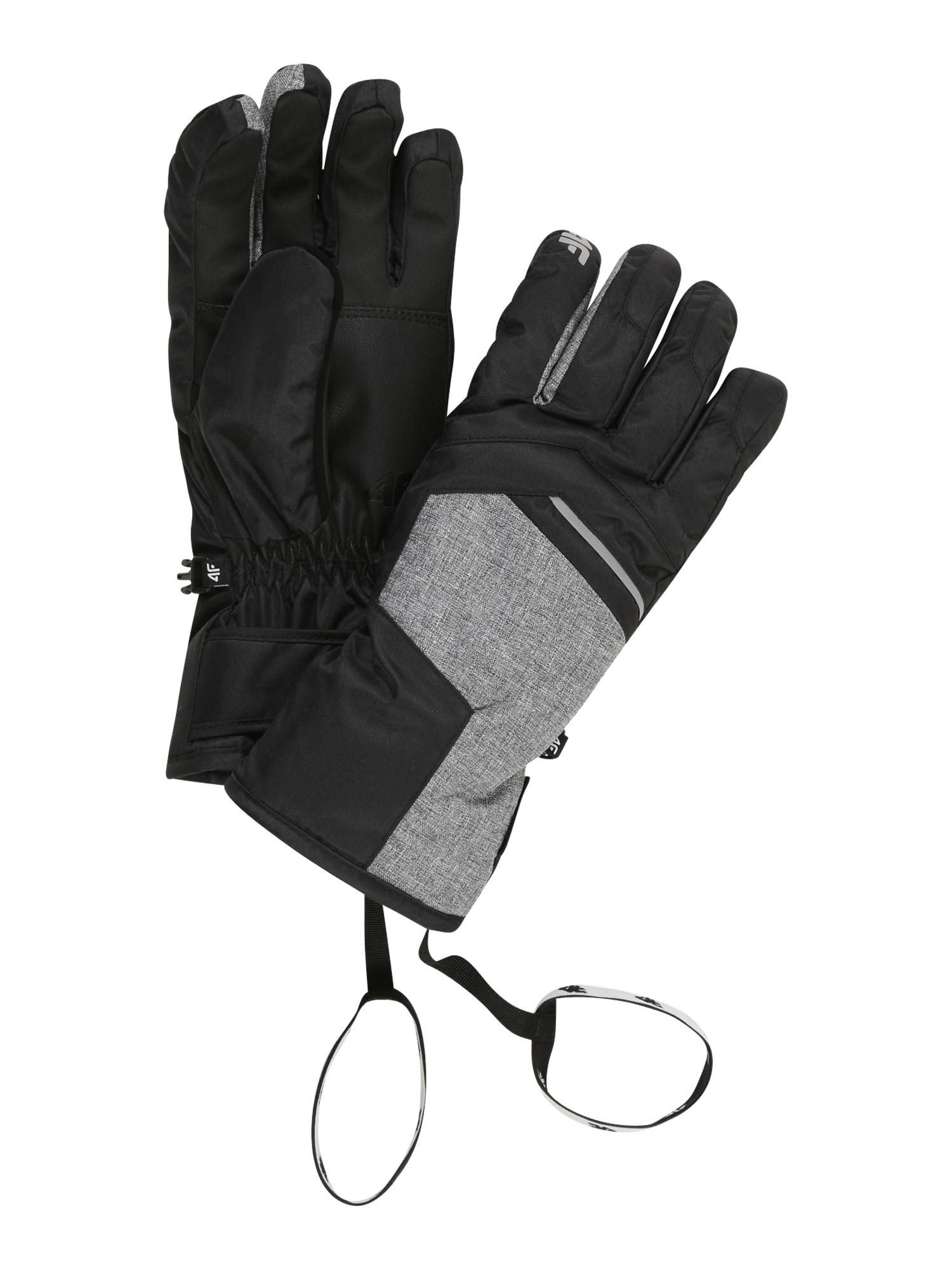 4F Sportinės pirštinės juoda / margai pilka