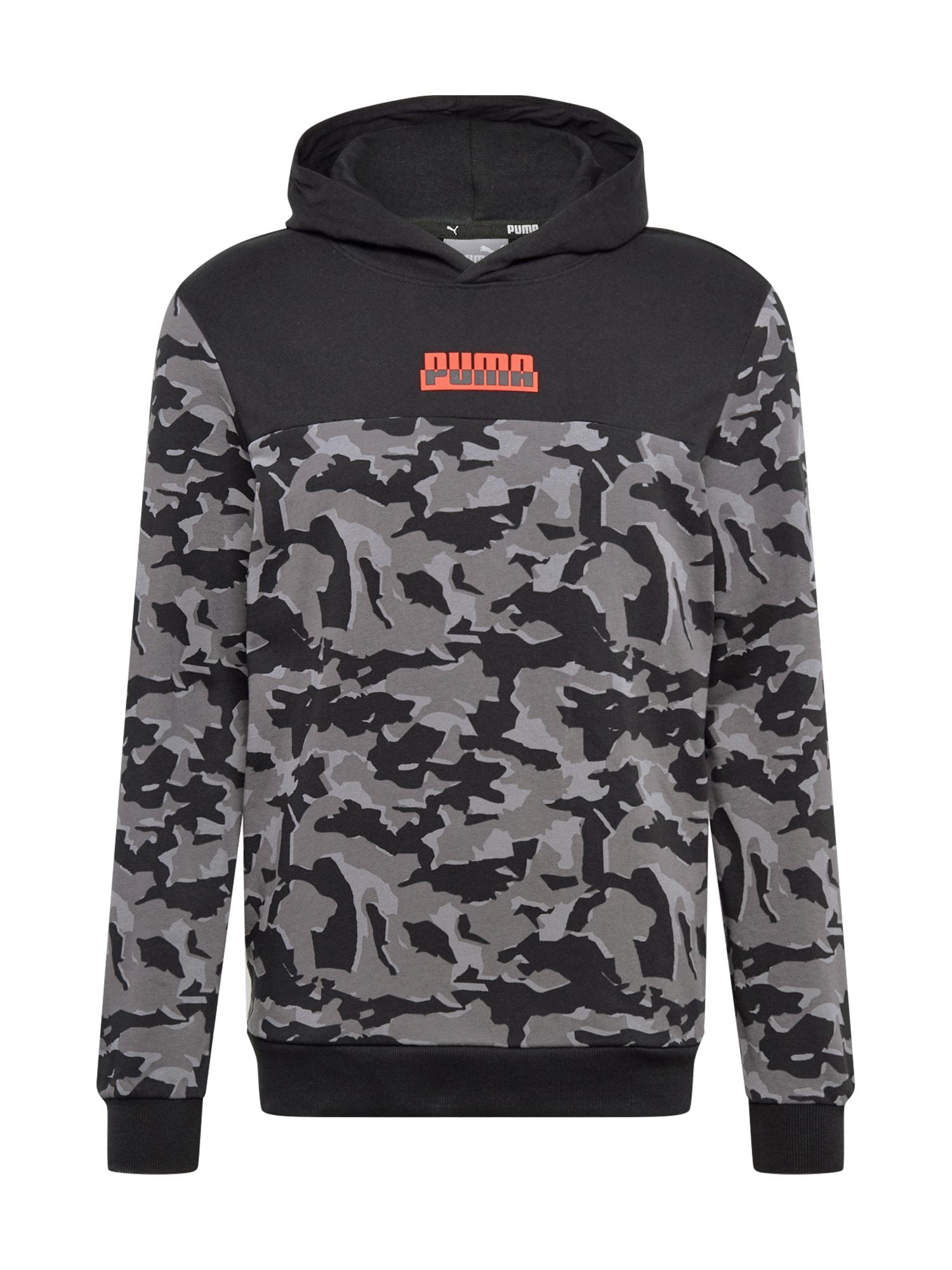 PUMA Sportinio tipo megztinis juoda / bazalto pilka / raudona