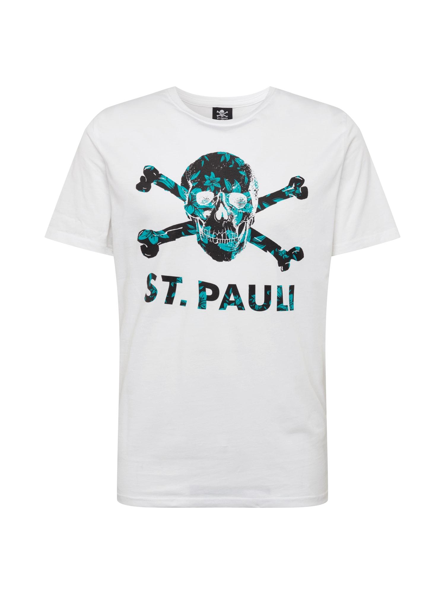 FC St. Pauli Marškinėliai juoda / balta / turkio spalva