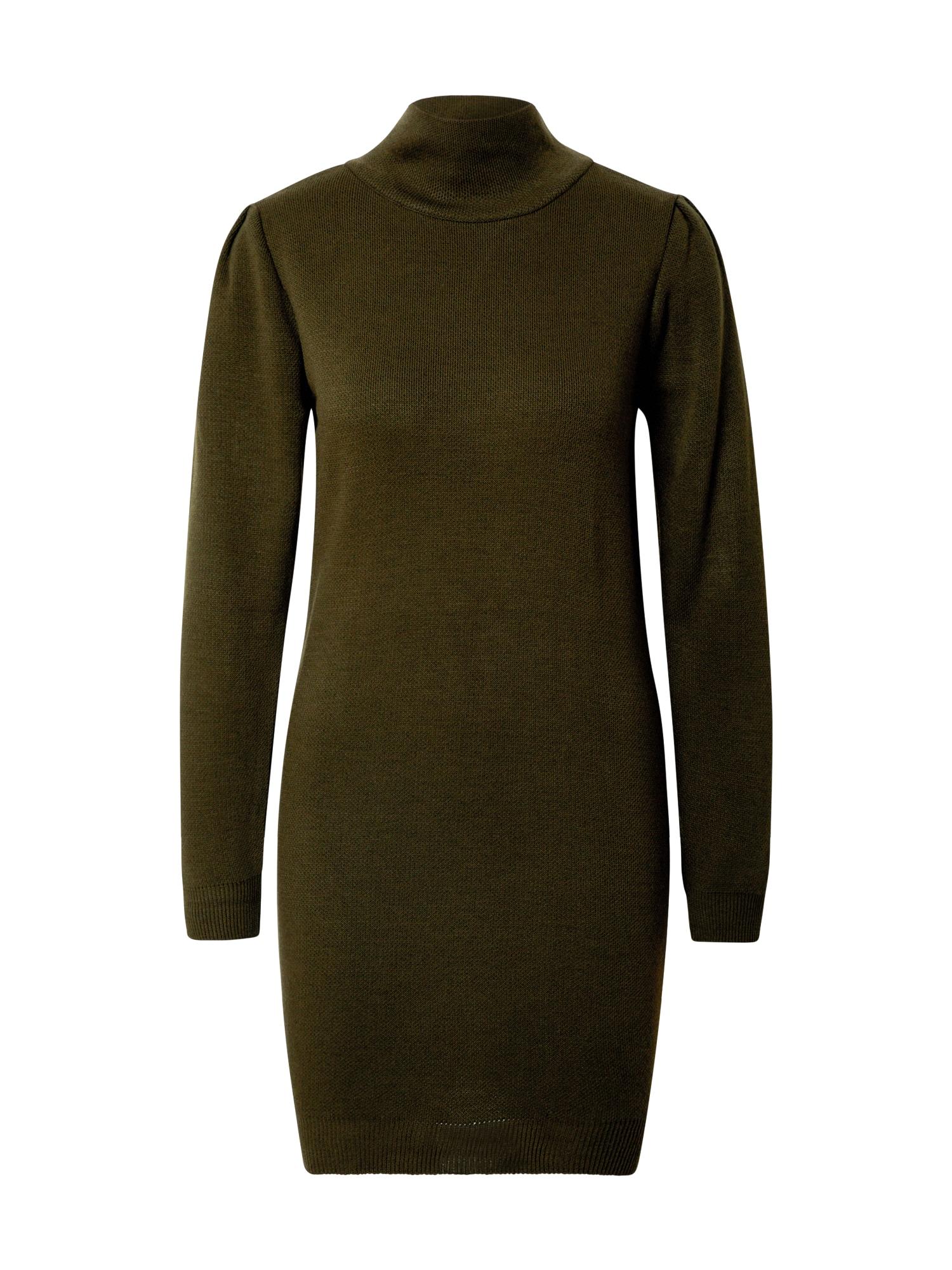 Trendyol Megzta suknelė tamsiai žalia