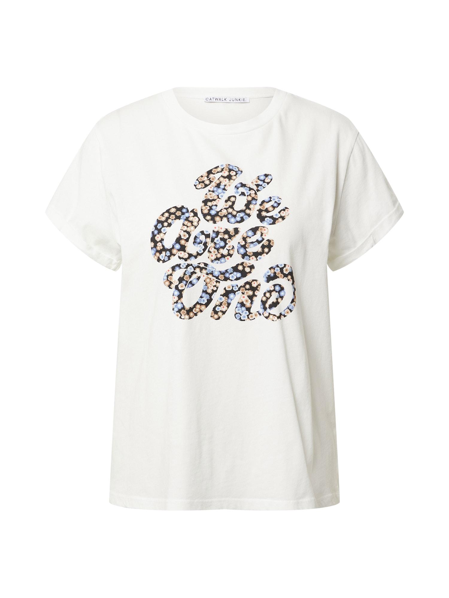 CATWALK JUNKIE Marškinėliai balta / juoda / šviesiai mėlyna / smėlio spalva / oranžinė