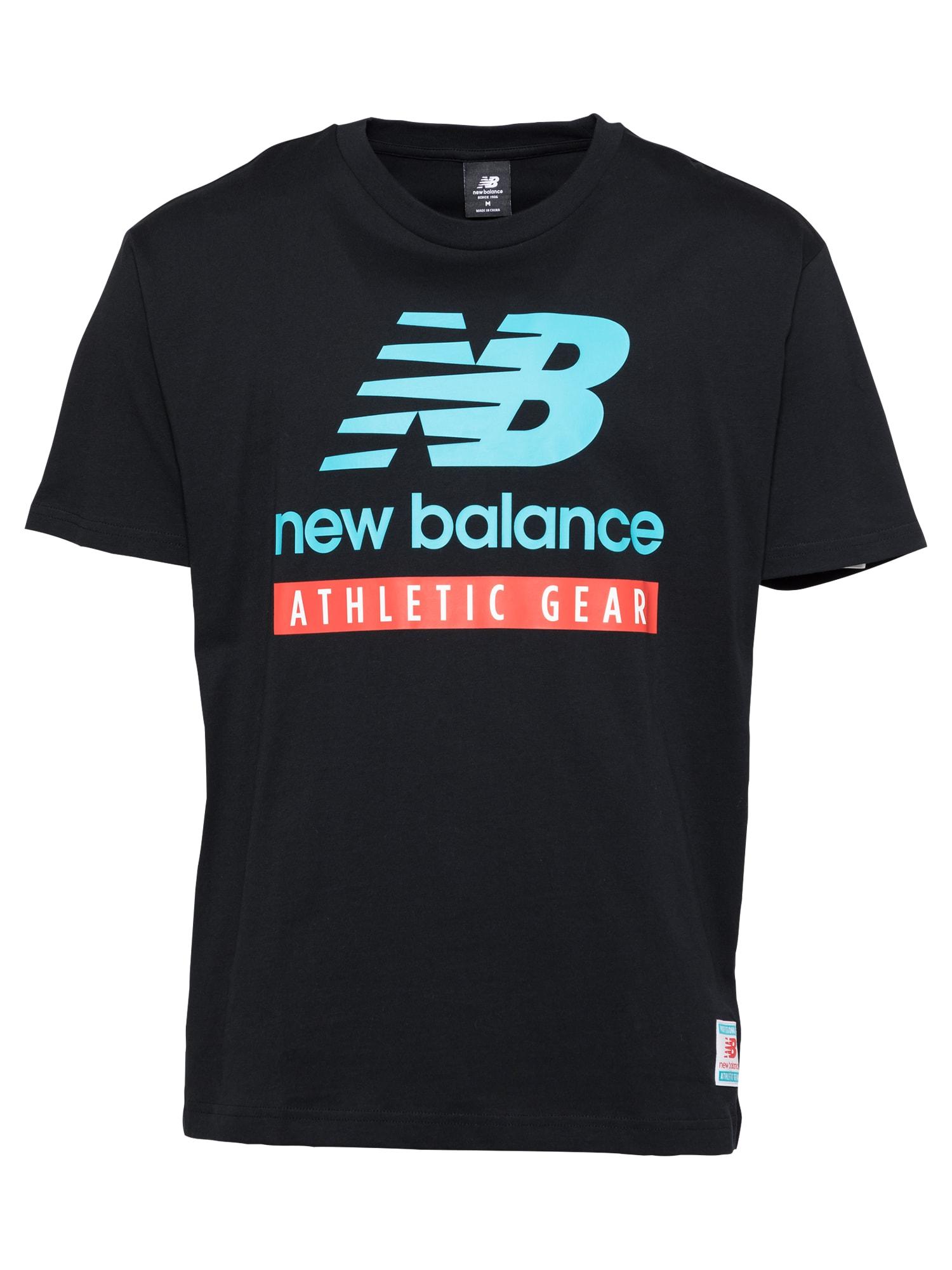 new balance Marškinėliai juoda / šviesiai raudona / balta / vandens spalva