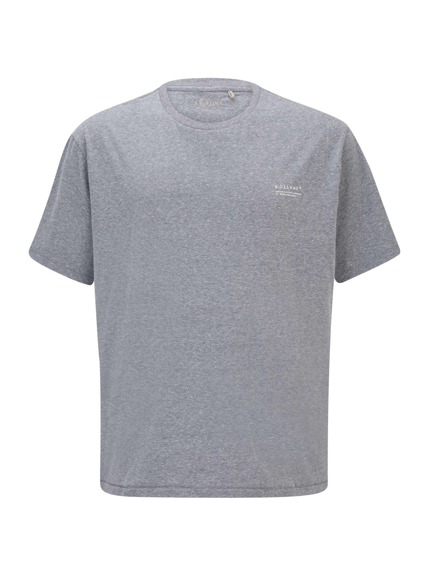 s.Oliver Red Label Big & Tall Marškinėliai melsvai pilka / balta