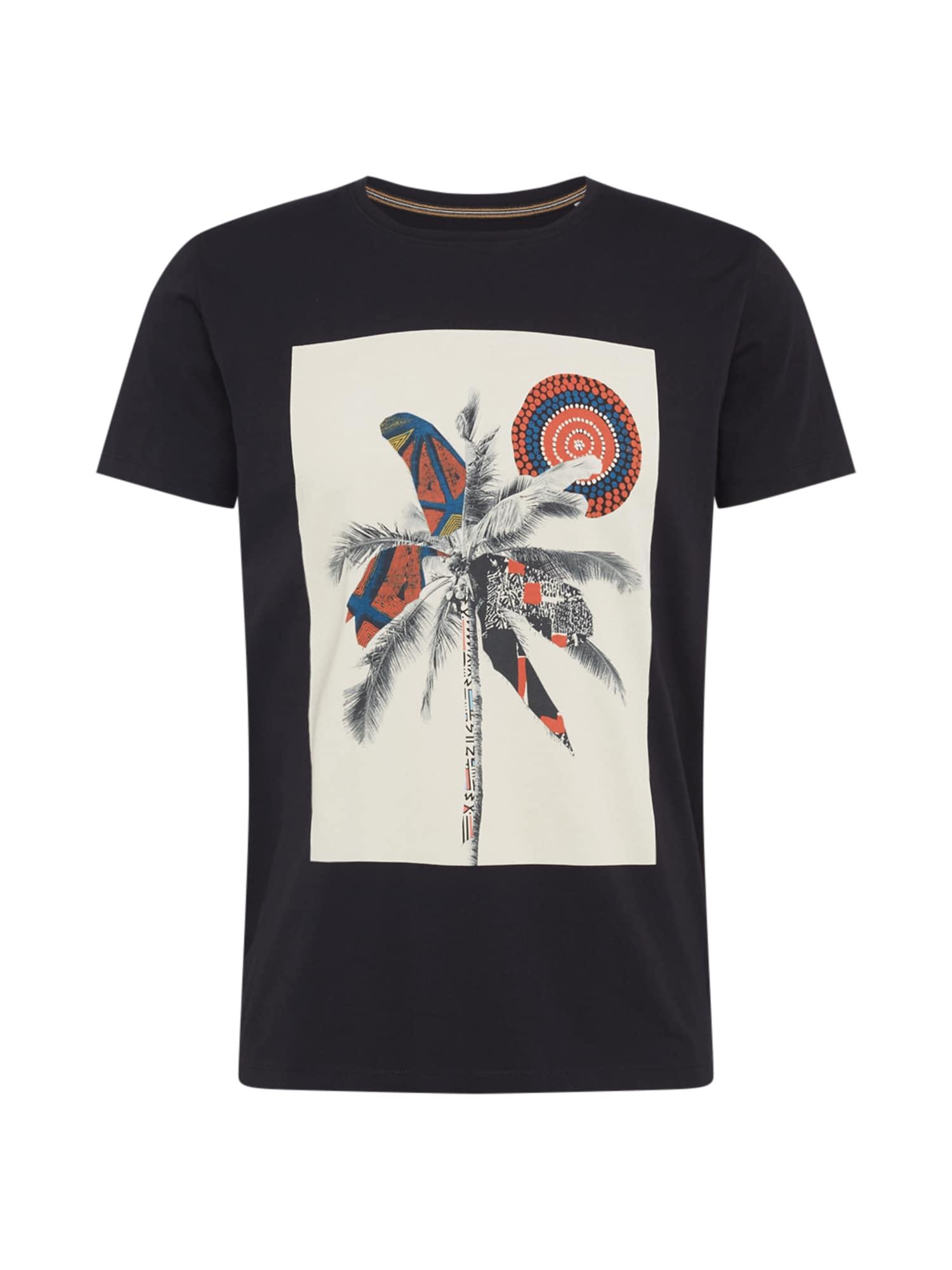 ESPRIT Marškinėliai juoda / balta / pilka / tamsiai oranžinė / mišrios spalvos