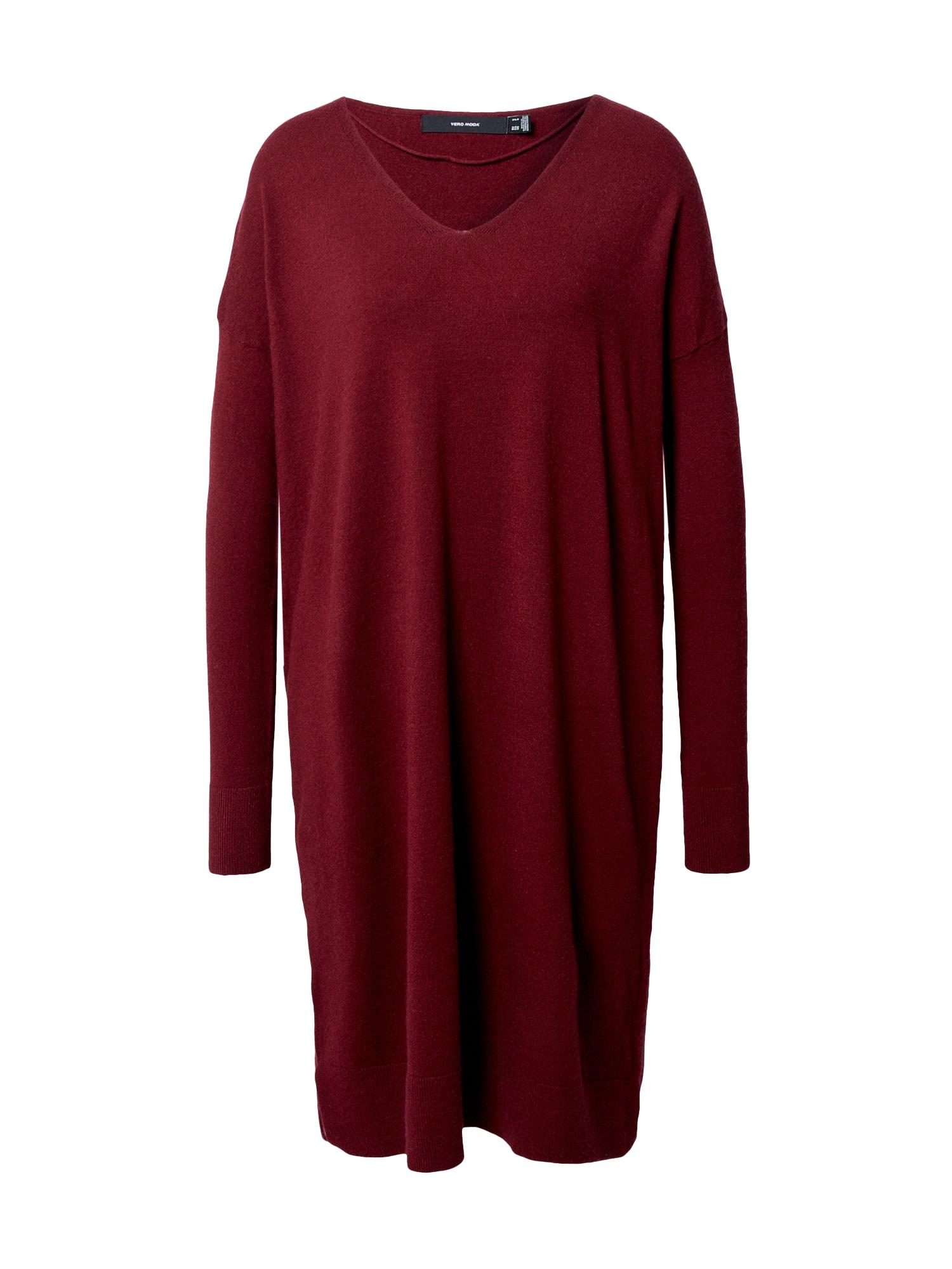 VERO MODA Úpletové šaty 'Holly'  vínově červená