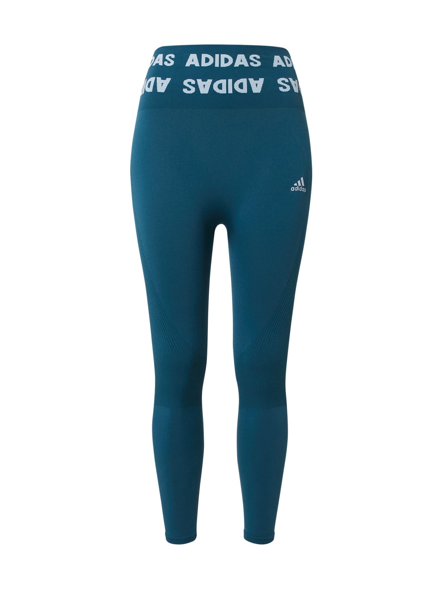 ADIDAS PERFORMANCE Sportovní kalhoty  petrolejová / bílá