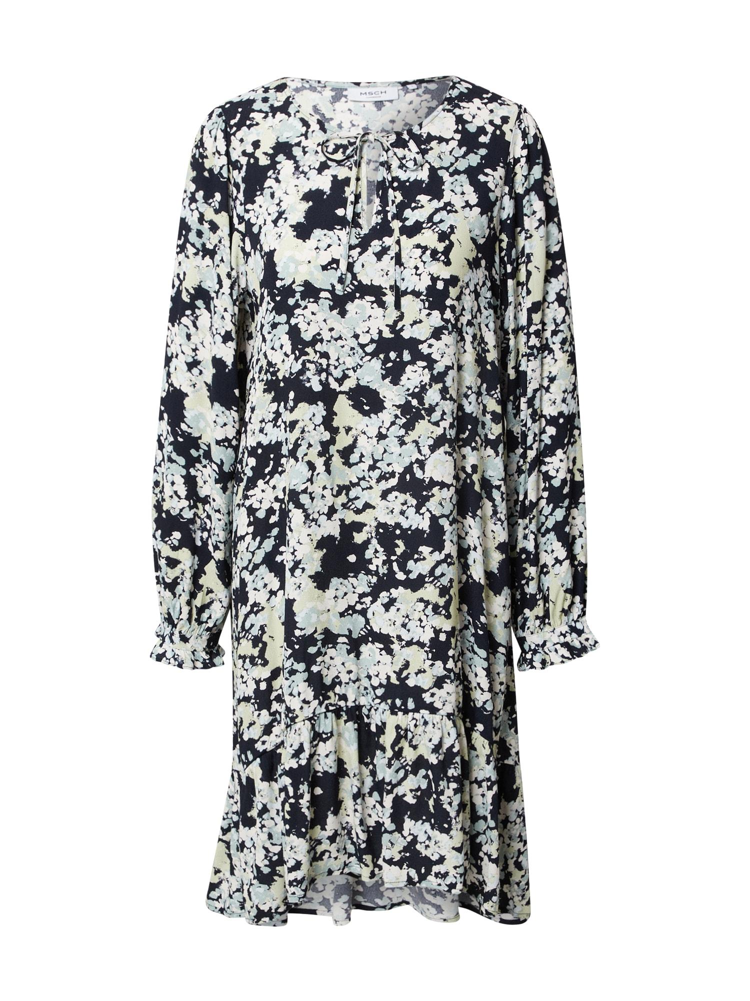 MOSS COPENHAGEN Šaty 'Thessa Jalina'  kobaltová modř / bílá / pastelově zelená / opálová