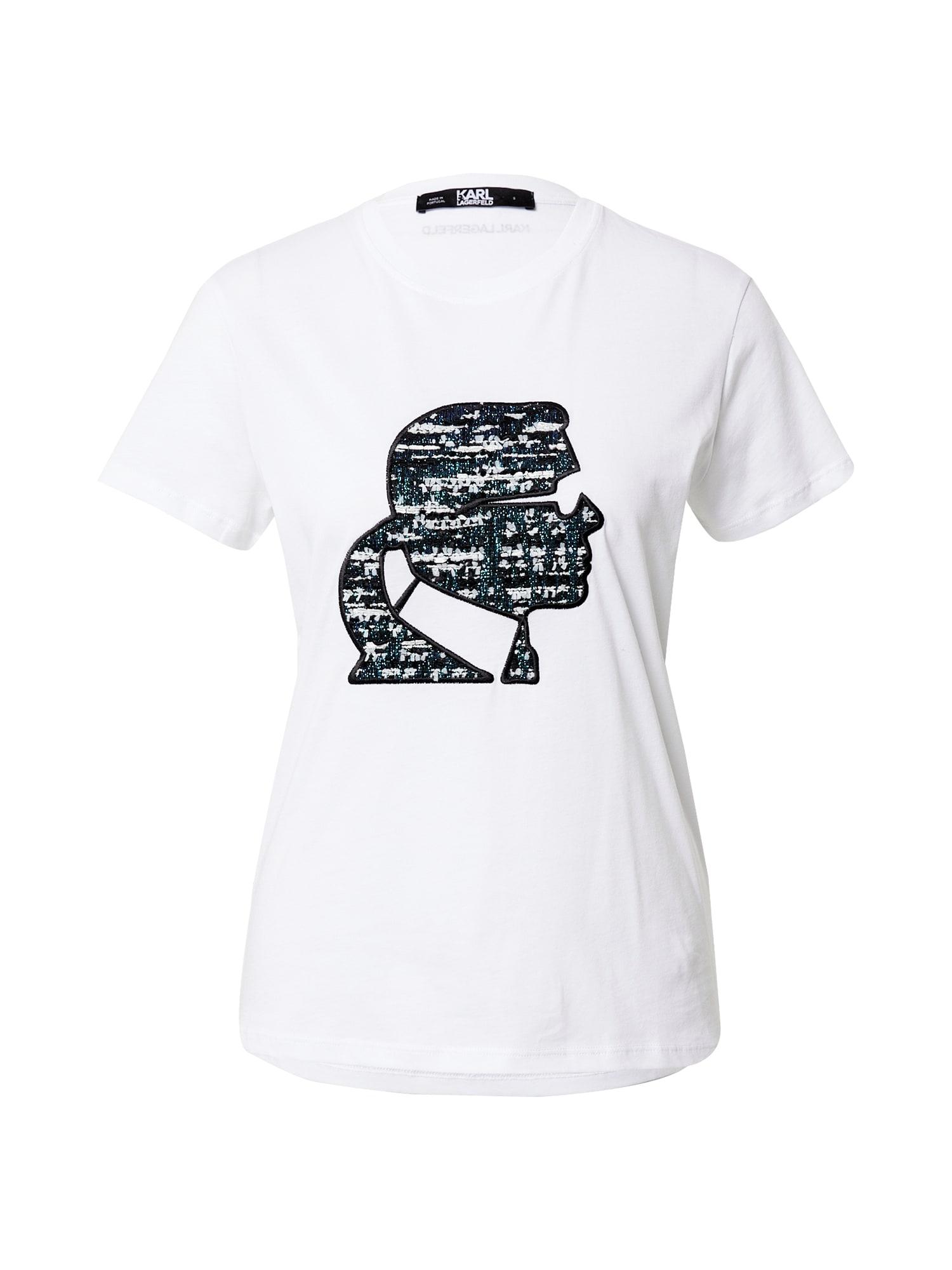 Karl Lagerfeld Marškinėliai balta / juoda / smaragdinė spalva