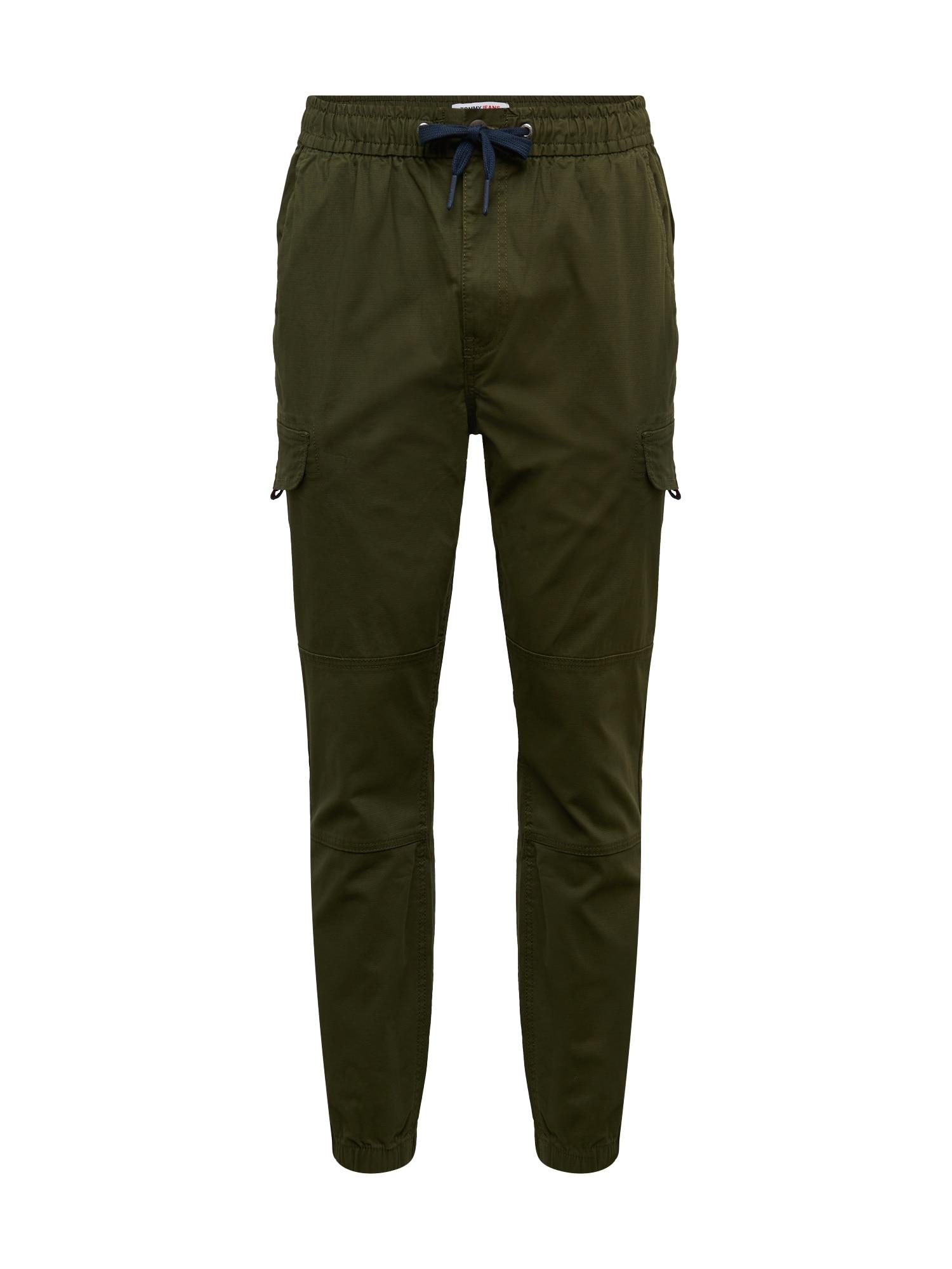 Tommy Jeans Laisvo stiliaus kelnės alyvuogių spalva
