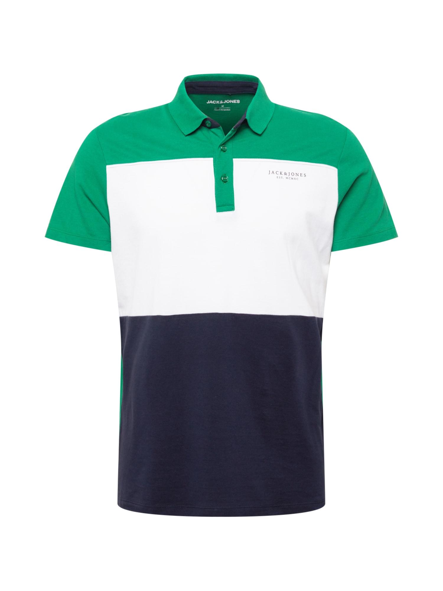 JACK & JONES Tričko 'MONSE'  zelená / bílá / noční modrá