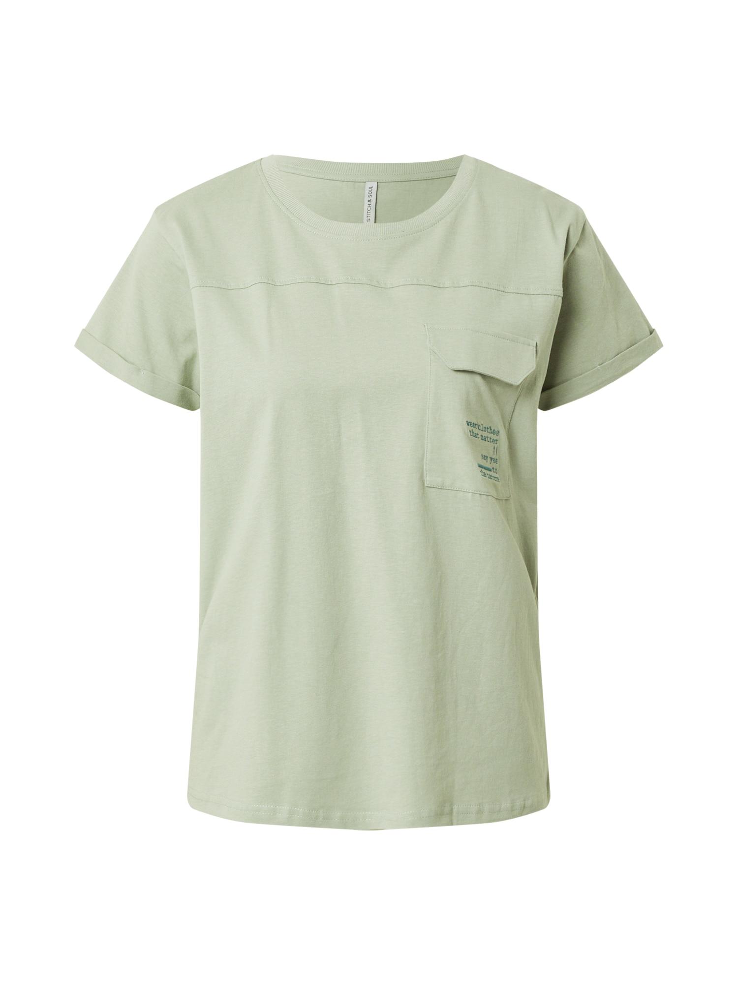 Sublevel Marškinėliai šviesiai žalia / dangaus žydra