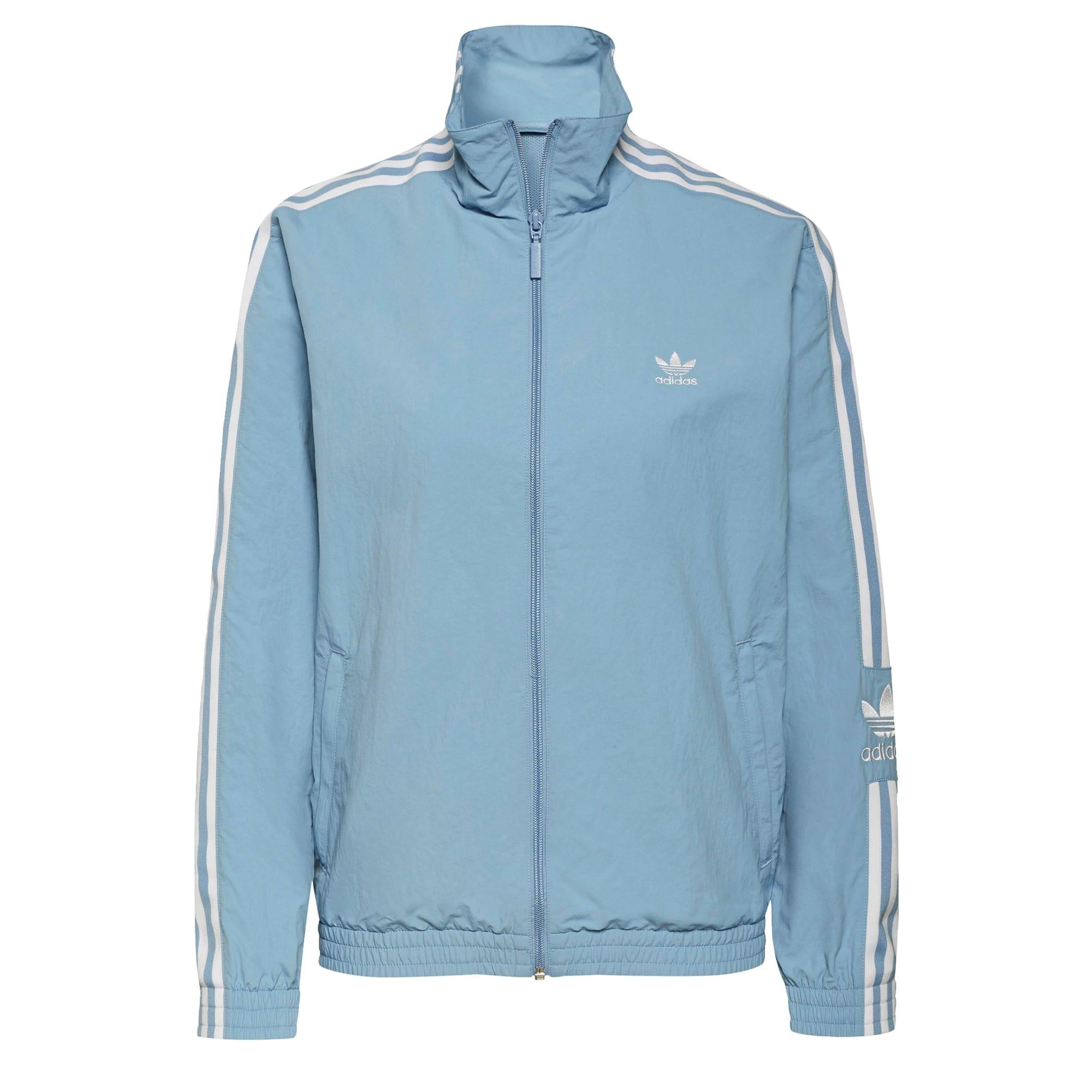 ADIDAS ORIGINALS Demisezoninė striukė mėlyna dūmų spalva / balta