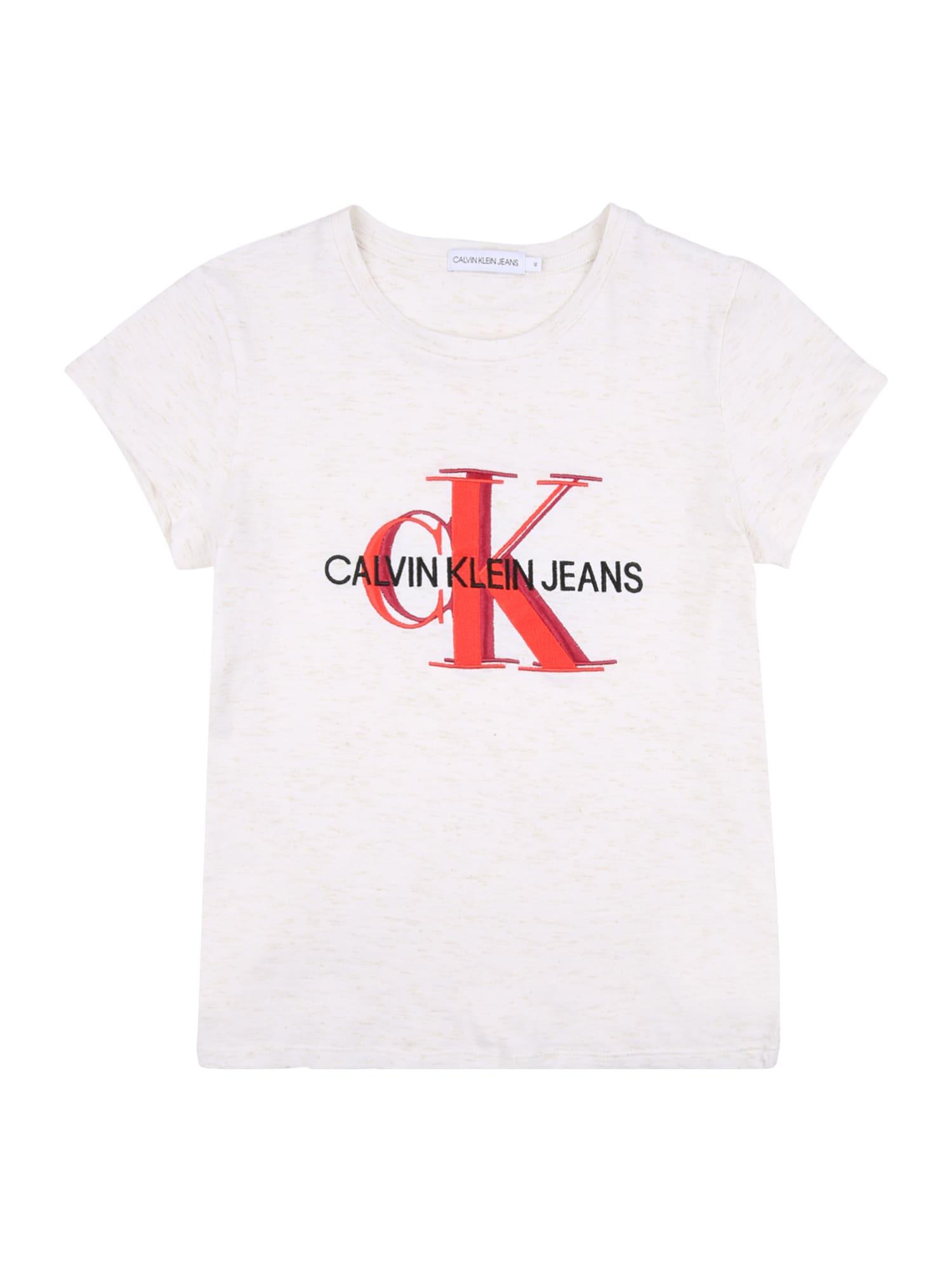 Calvin Klein Jeans Marškinėliai vilnos balta / juoda / margai raudona / šviesiai raudona