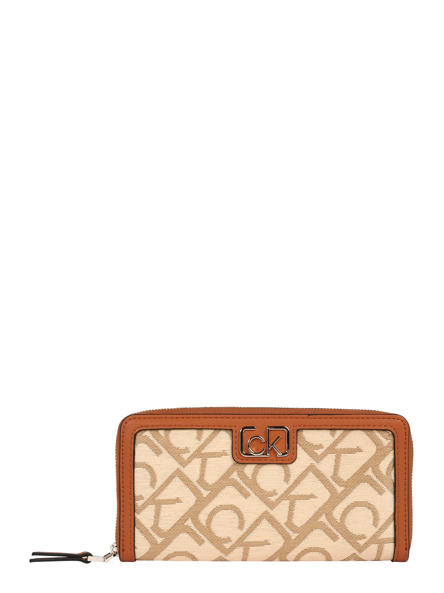 Calvin Klein Peněženka 'Raffia'  krémová / koňaková