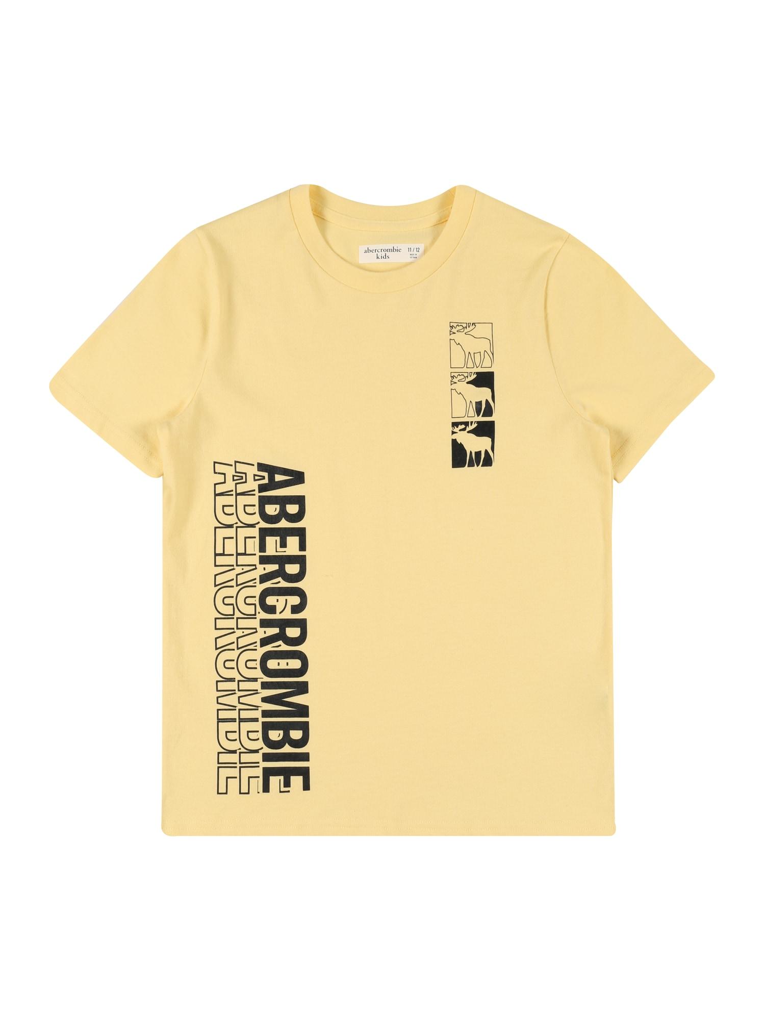 Abercrombie & Fitch Marškinėliai šviesiai geltona / juoda