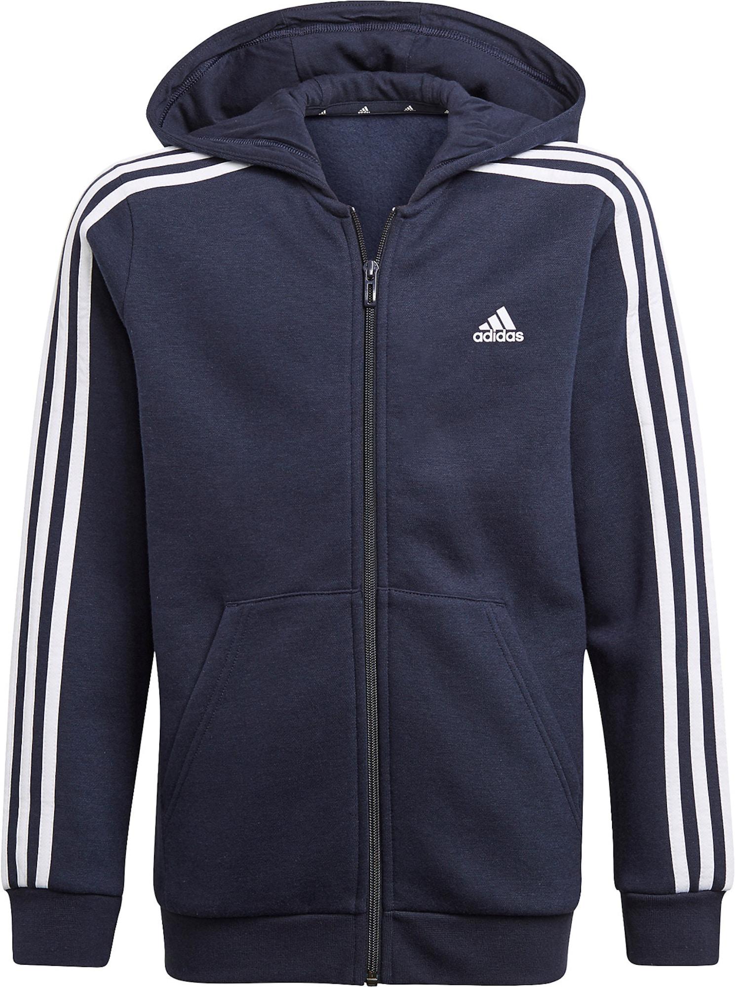 ADIDAS PERFORMANCE Sportinis džemperis balta / nakties mėlyna